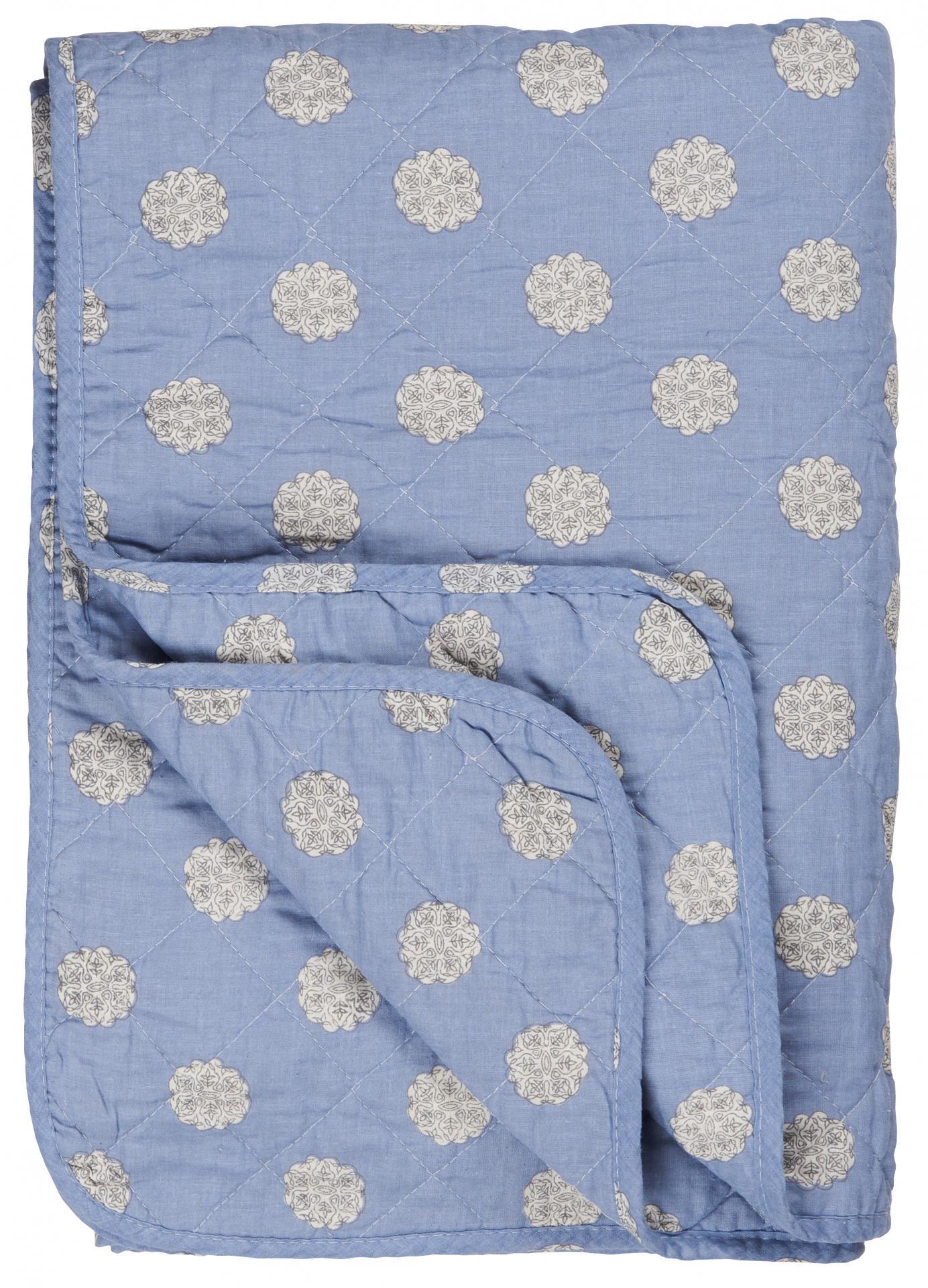 IB LAURSEN Prošívaná deka Blue/circle pattern 130x180 cm, modrá barva, textil