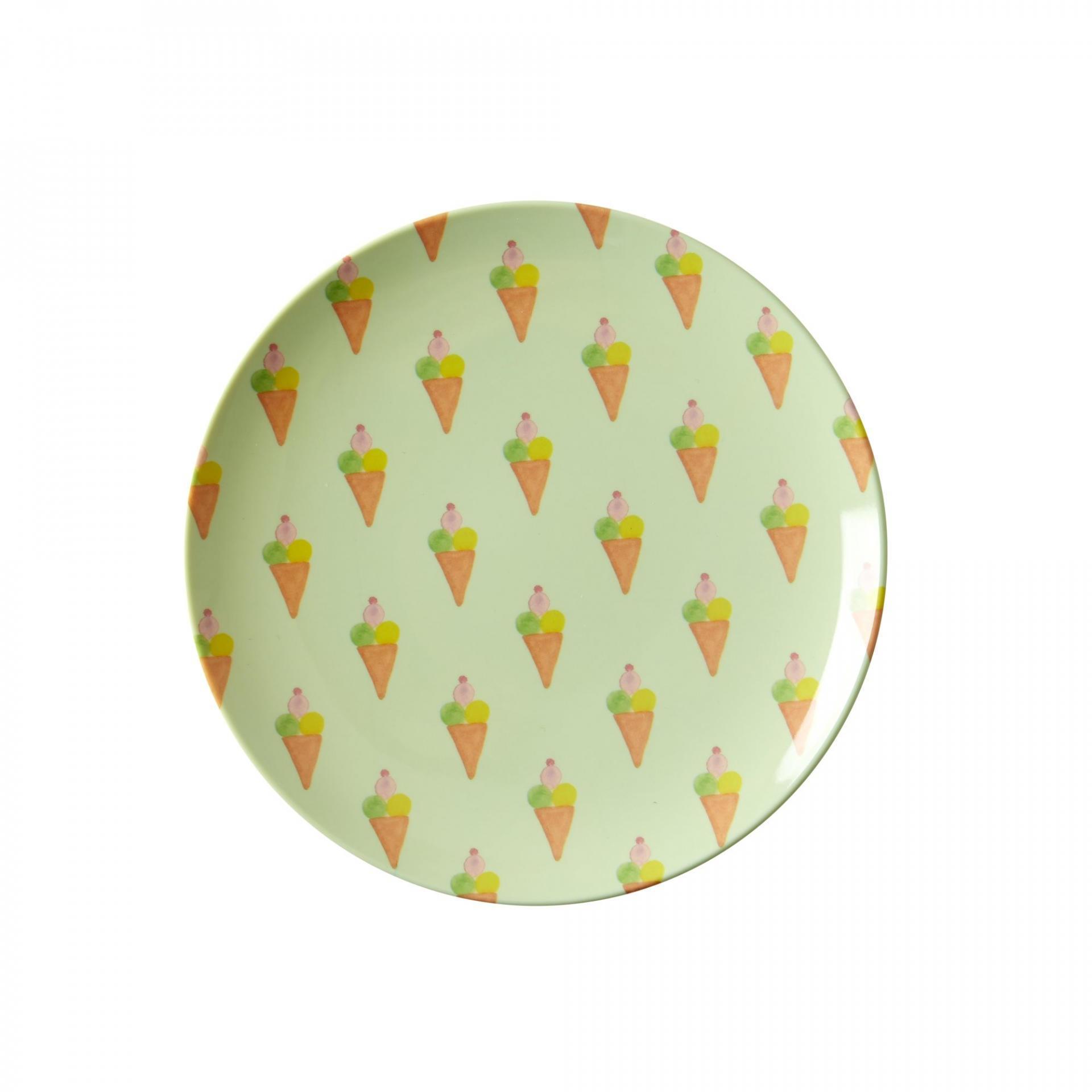 rice Melaminový talířek Ice Cream, zelená barva, oranžová barva, melamin