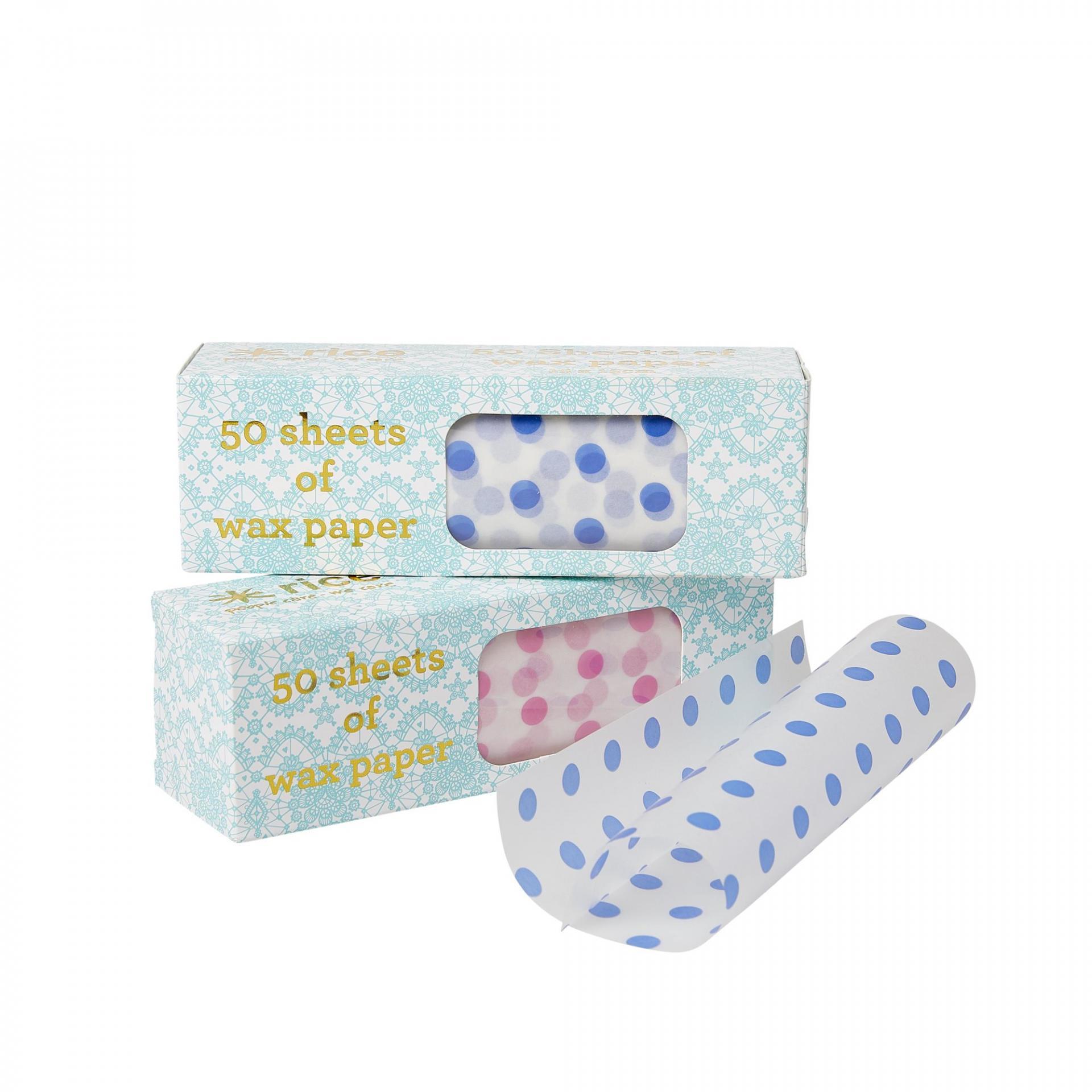 rice Voskový papír na sendvič - 50ks Růžová, růžová barva, modrá barva, papír
