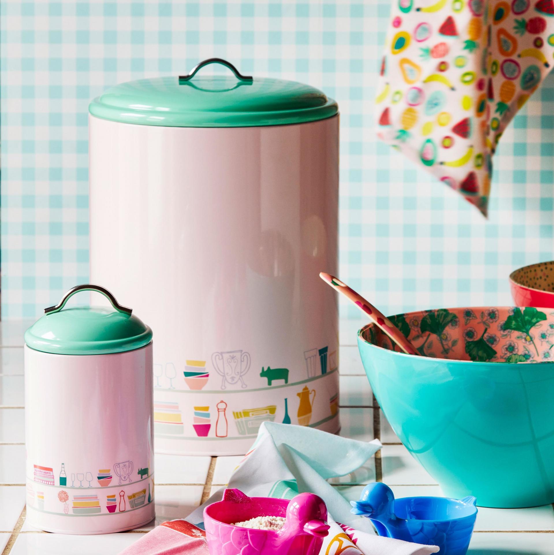 rice Plechová dóza Pink/Mint, růžová barva, zelená barva, kov