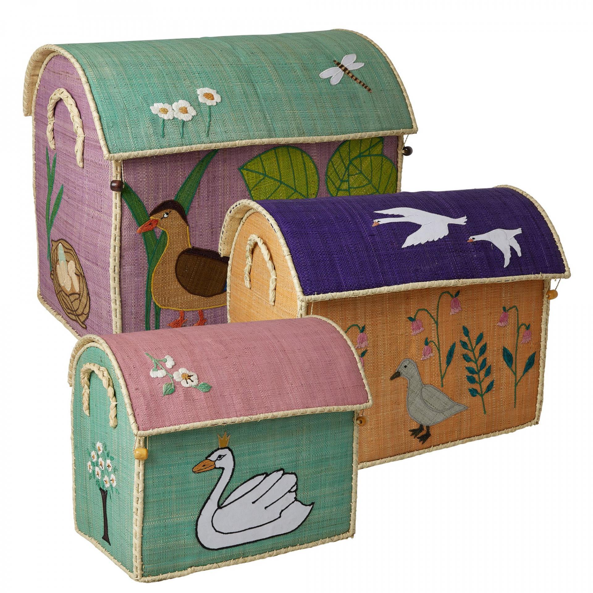 rice Úložný box na hračky The Ugly Duckling Velikost L (fialový), multi barva, proutí, papír