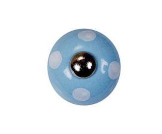 La finesse Porcelánová úchytka Light blue/spot white, modrá barva, porcelán 30 mm