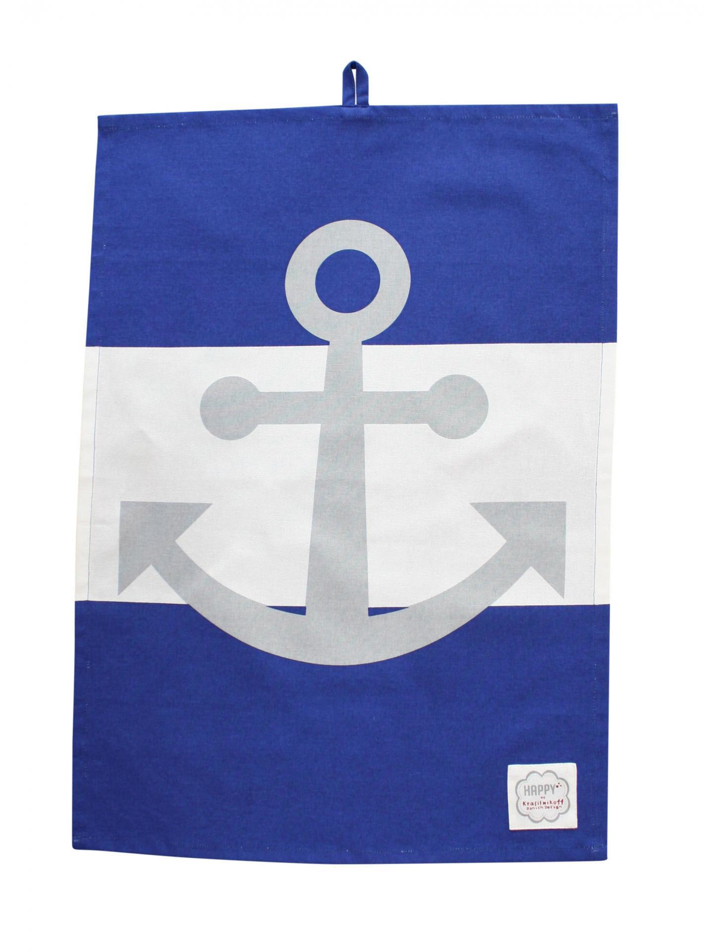 Krasilnikoff Utěrka Blue Anchor, modrá barva, textil