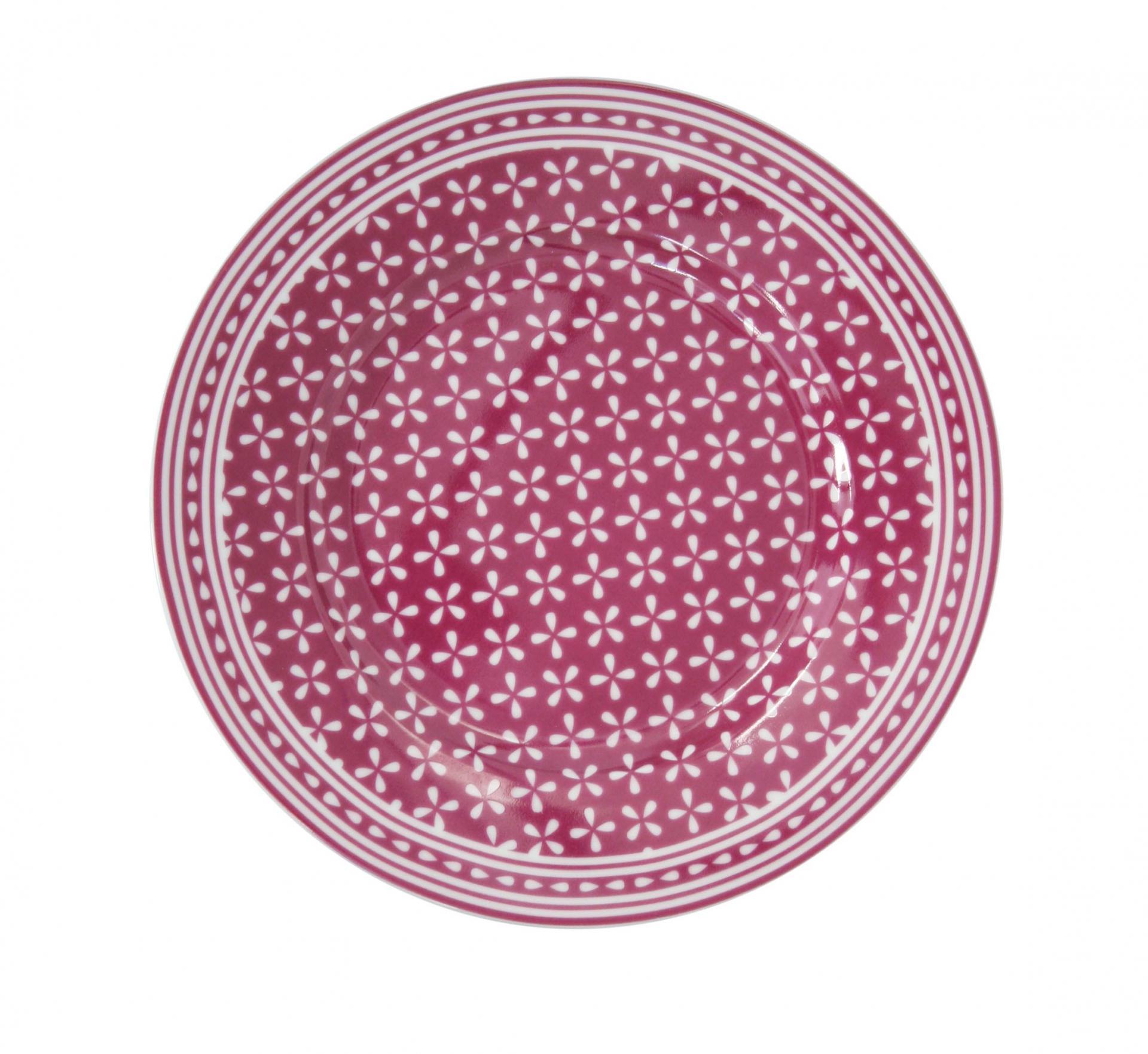 Krasilnikoff Dezertní talíř Daisy Plum, růžová barva, fialová barva, porcelán