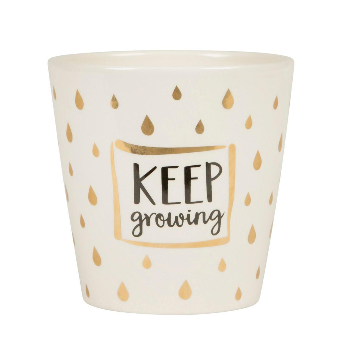 sass & belle Keramický obal na květináč Keep growing, zlatá barva, krémová barva, keramika 13,5cmx14cm
