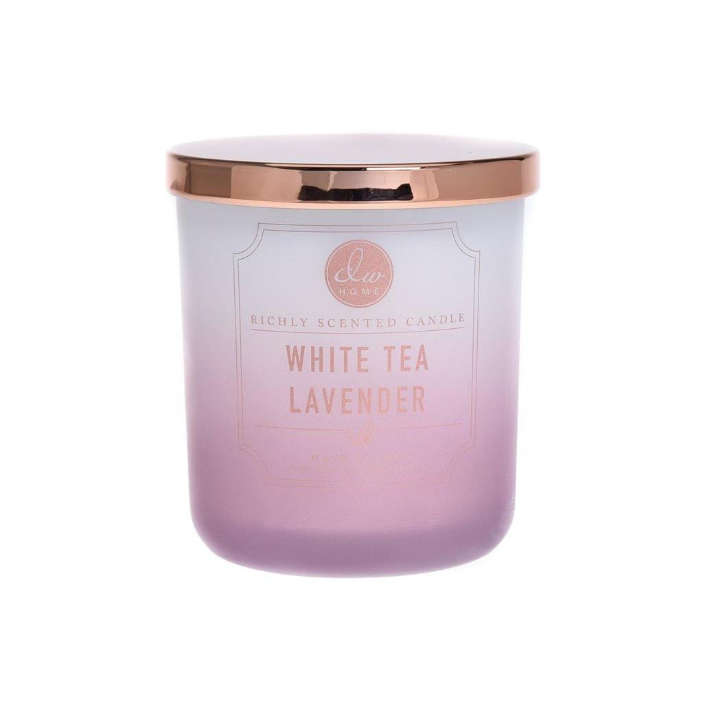 dw HOME Vonná svíčka ve skle White Tea and Lavender 255g, fialová barva, bílá barva, sklo