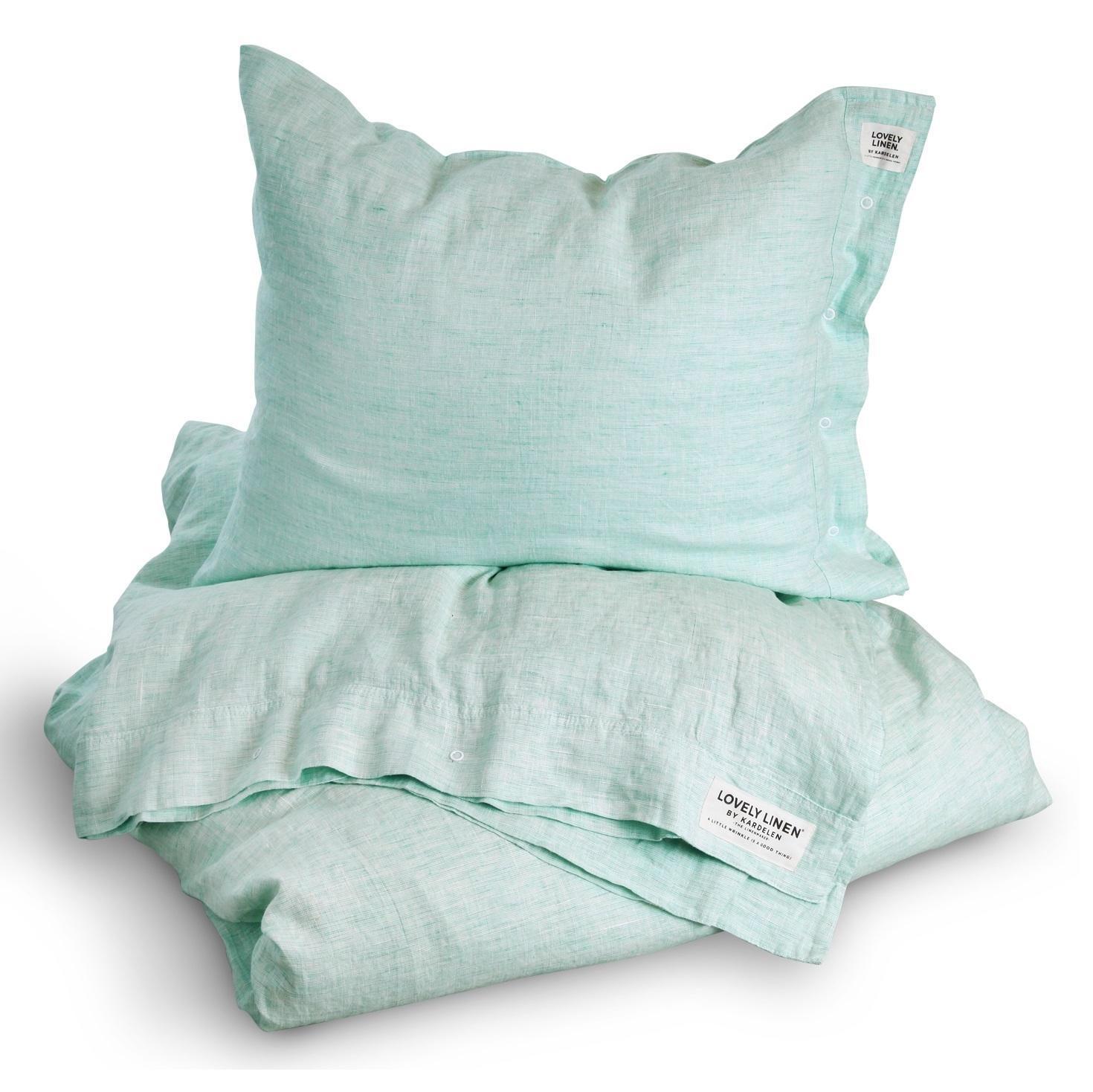 Lovely Linen Přírodní lněné povlečení Chambray Ocean, modrá barva, zelená barva, textil