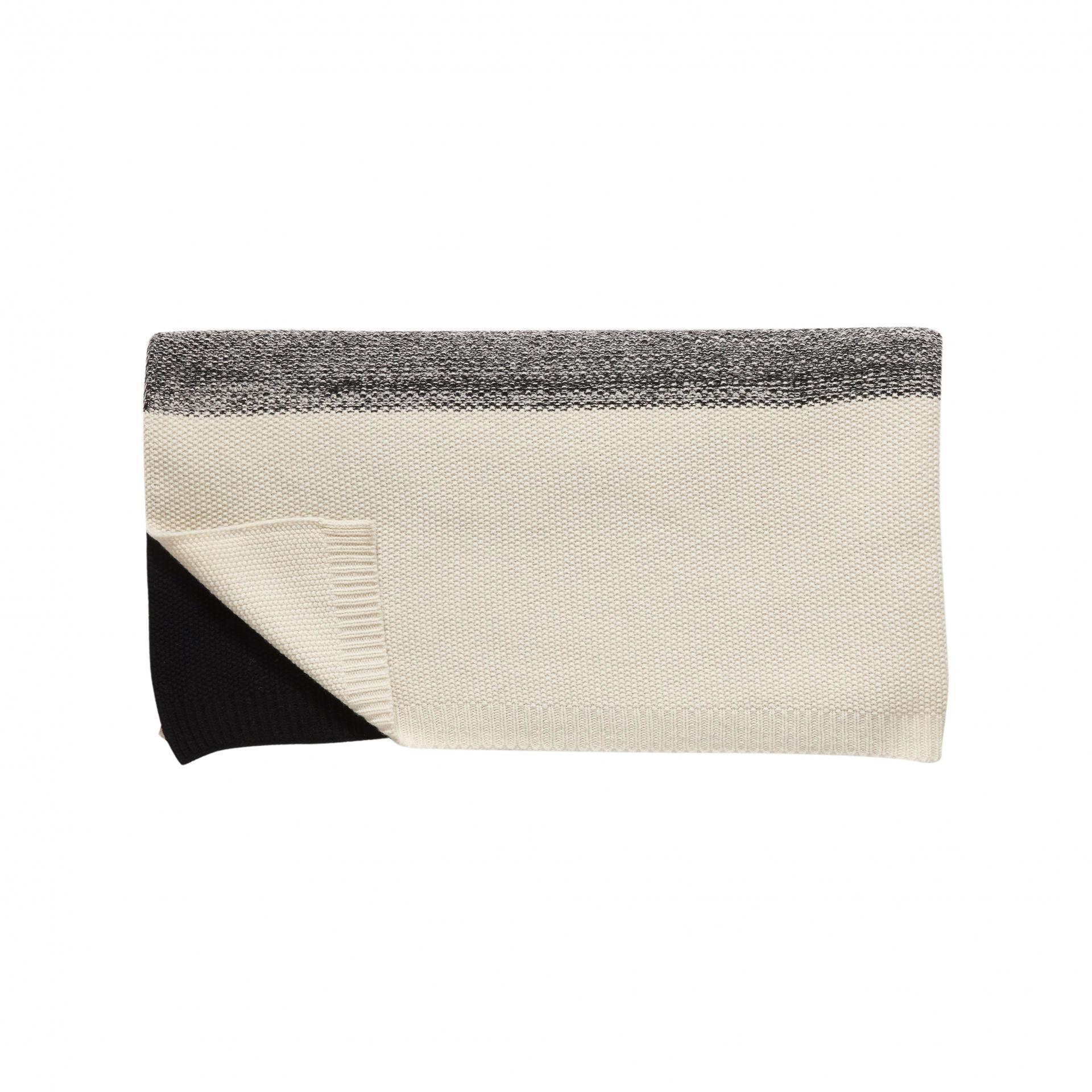 Hübsch Pletený pléd s ovčí vlnou Black/nature 130x200, béžová barva, šedá barva, černá barva, textil