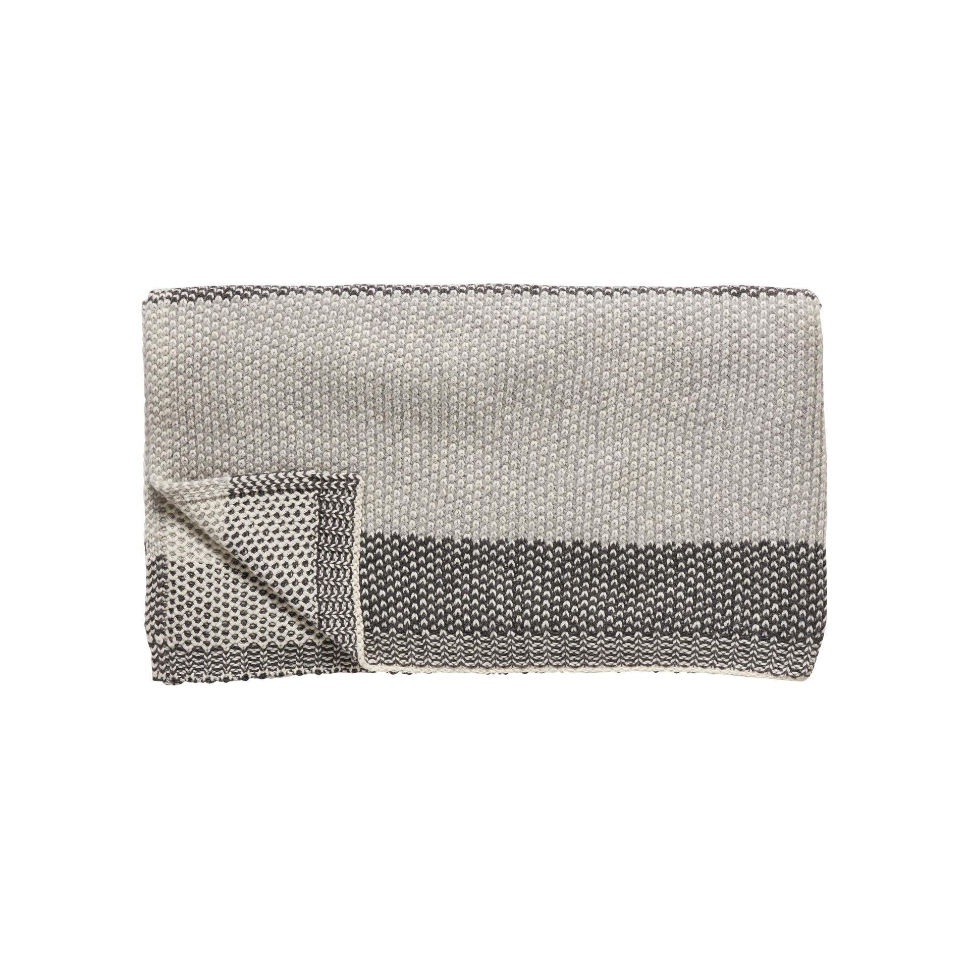 Hübsch Pletený pléd s ovčí vlnou Grey/nature 130x200, šedá barva, textil