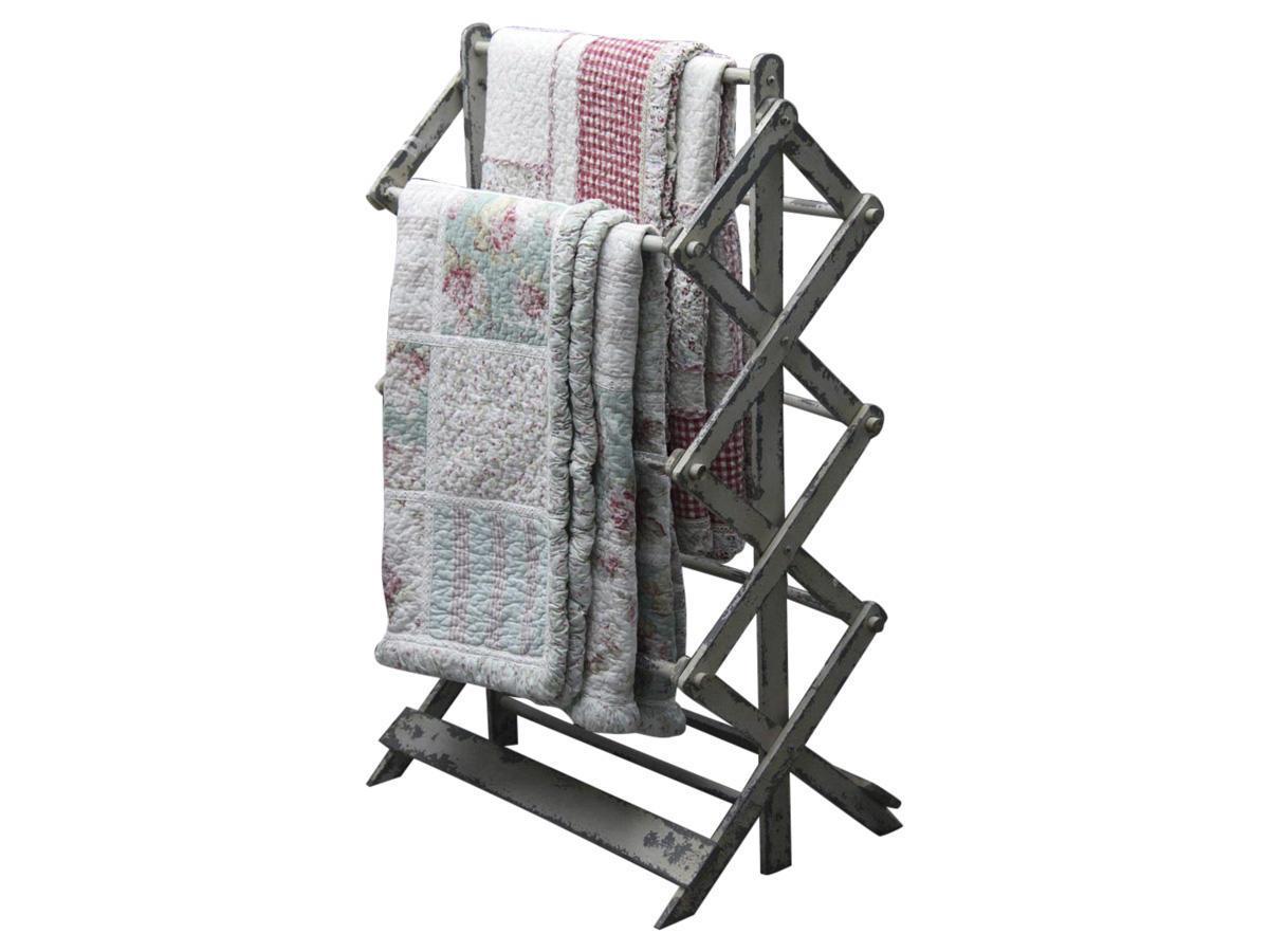 Chic Antique Retro stojan na ručníky, bílá barva, dřevo