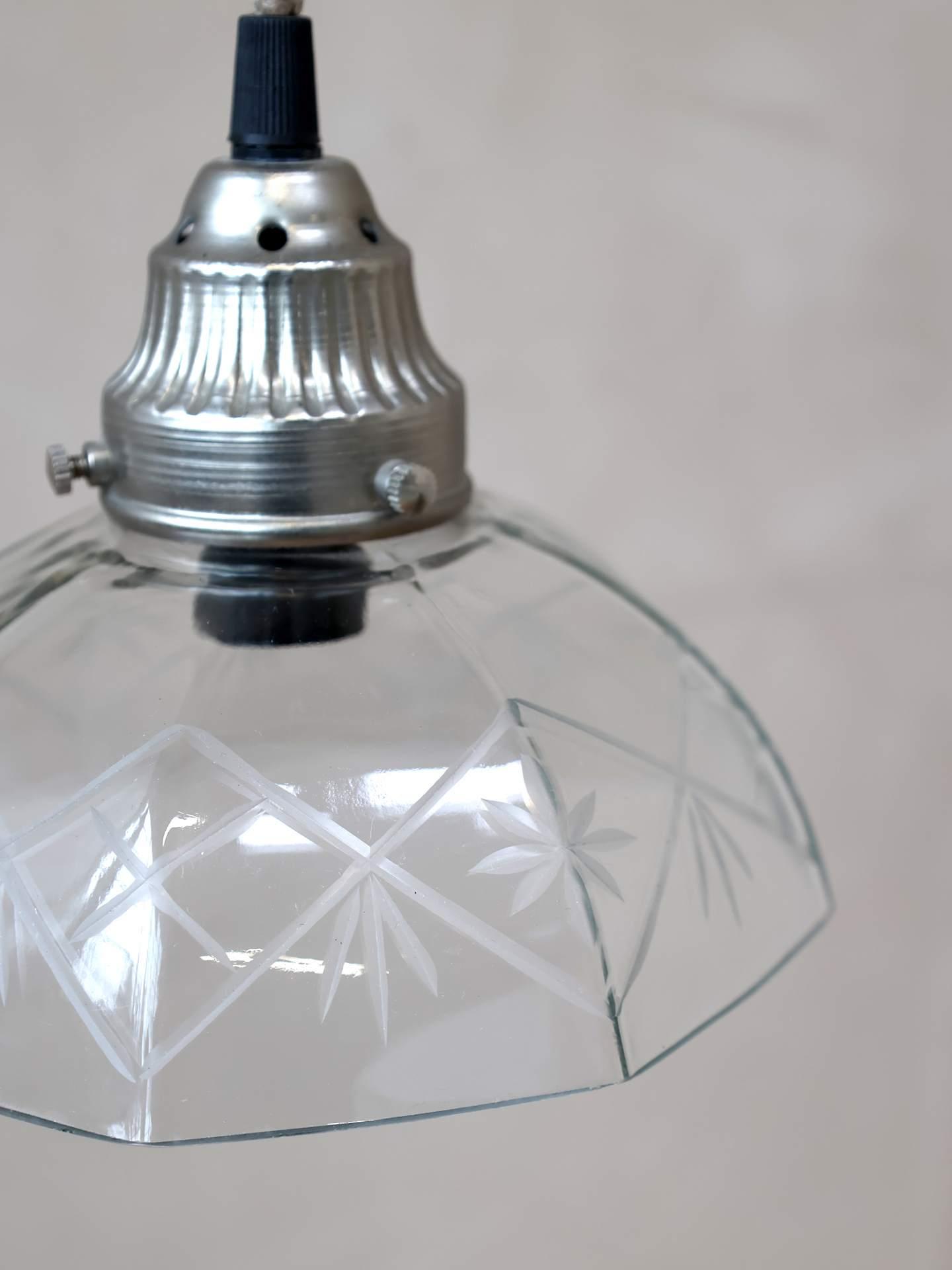 Chic Antique Závěsná skleněná lampa 18 cm, bílá barva, sklo