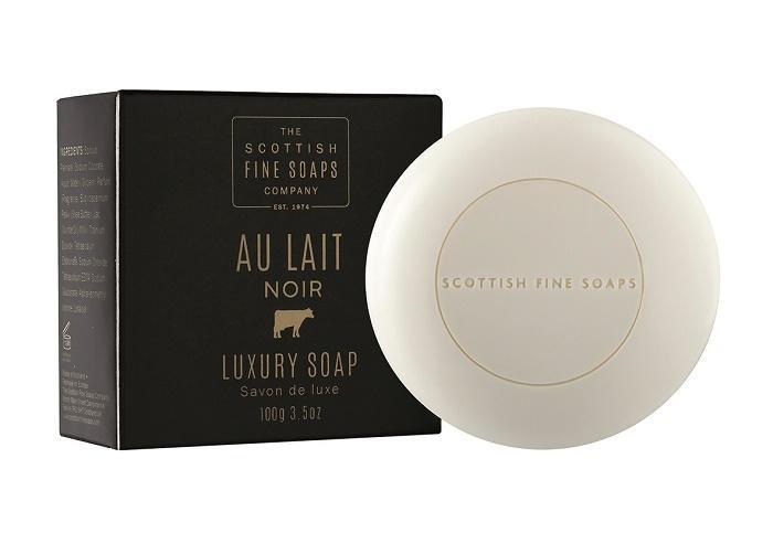 SCOTTISH FINE SOAPS Tuhé mýdlo Au Lait Noir 100g, černá barva, papír
