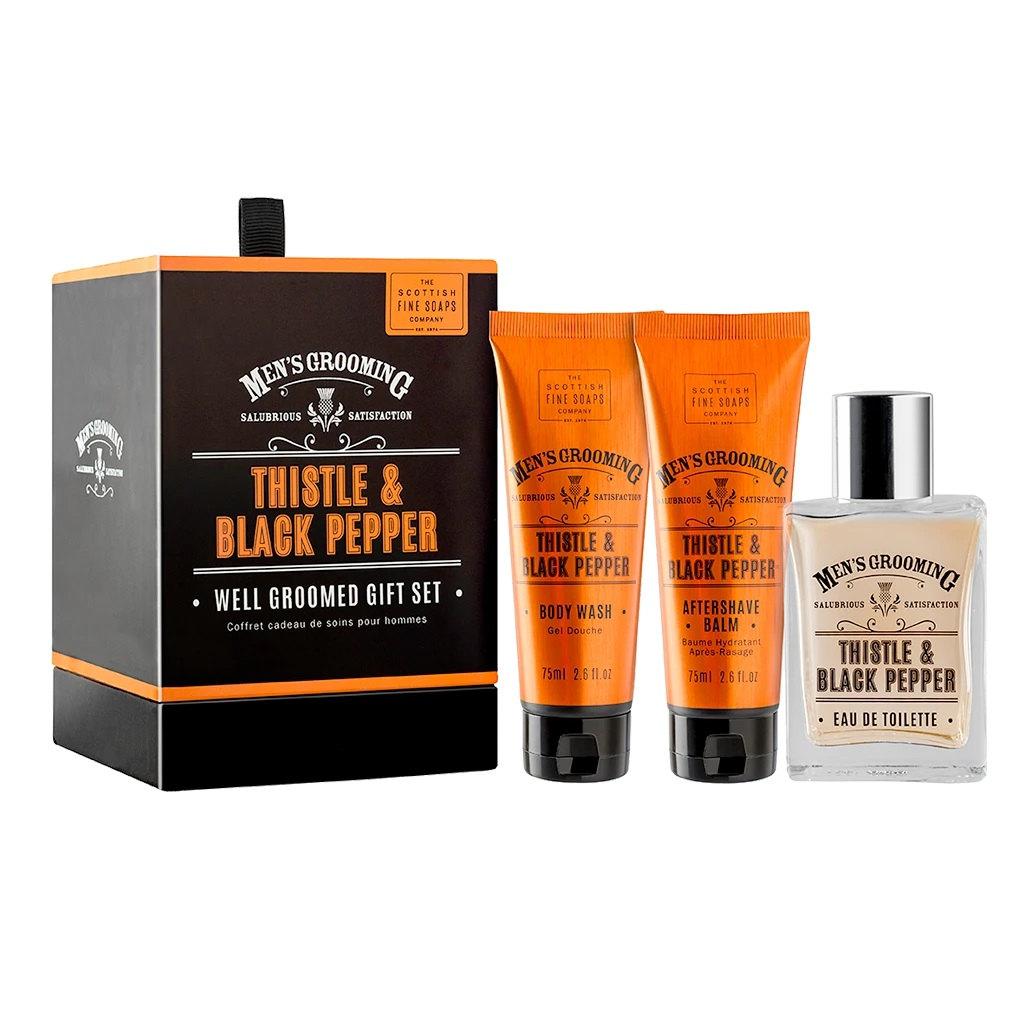 SCOTTISH FINE SOAPS Pánská dárková sada Thistle & Black Pepper, oranžová barva, černá barva, plast