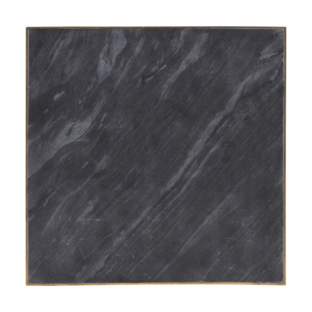 House Doctor Servírovací deska 30x30 cm, černá barva, zlatá barva, mramor