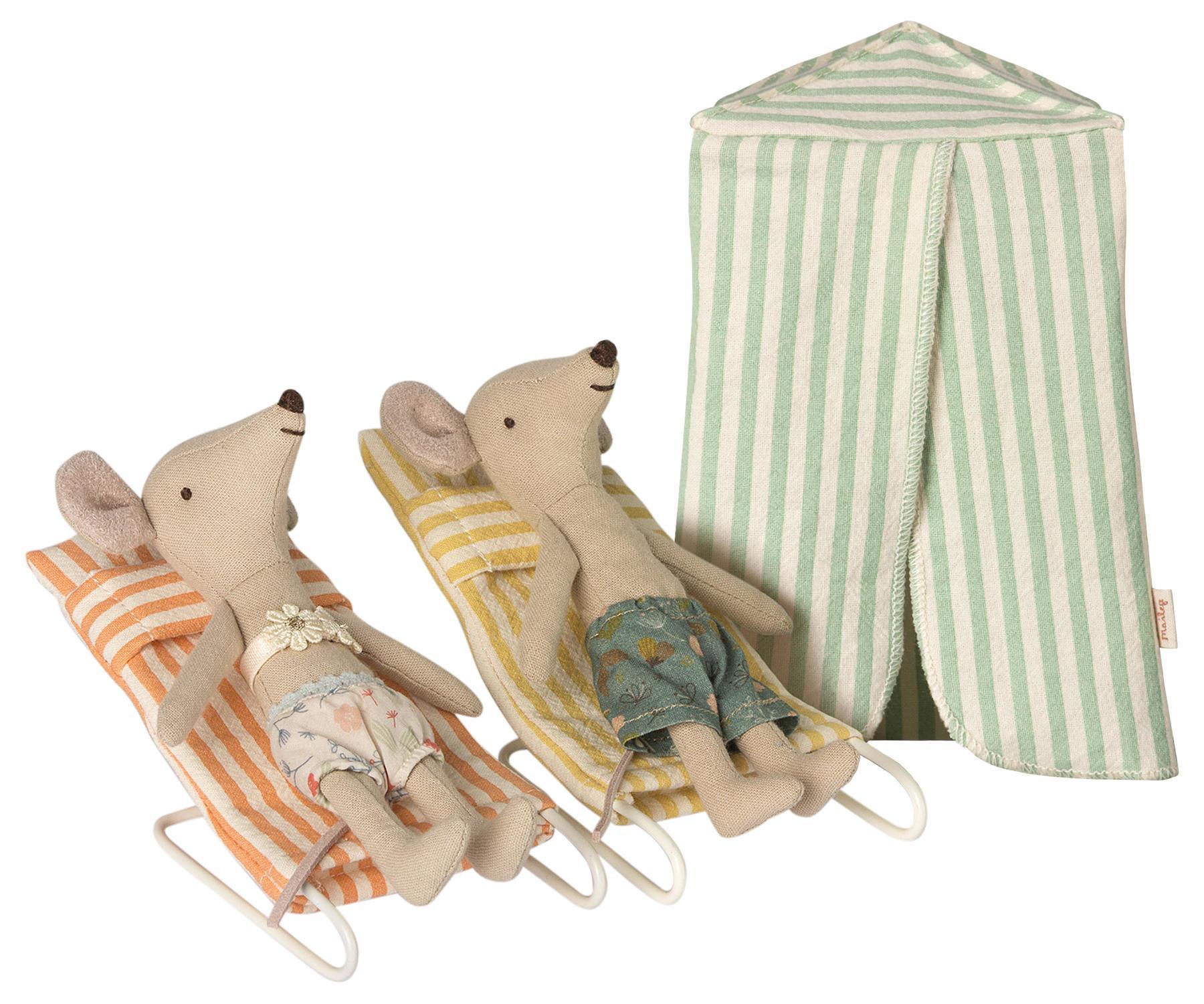 Maileg Myšky na dovolené - set, multi barva, kov, textil