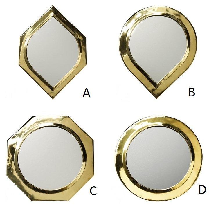 Tine K Home Dekorativní zrcátko Brass - 4 druhy Typ A, zlatá barva, sklo, kov