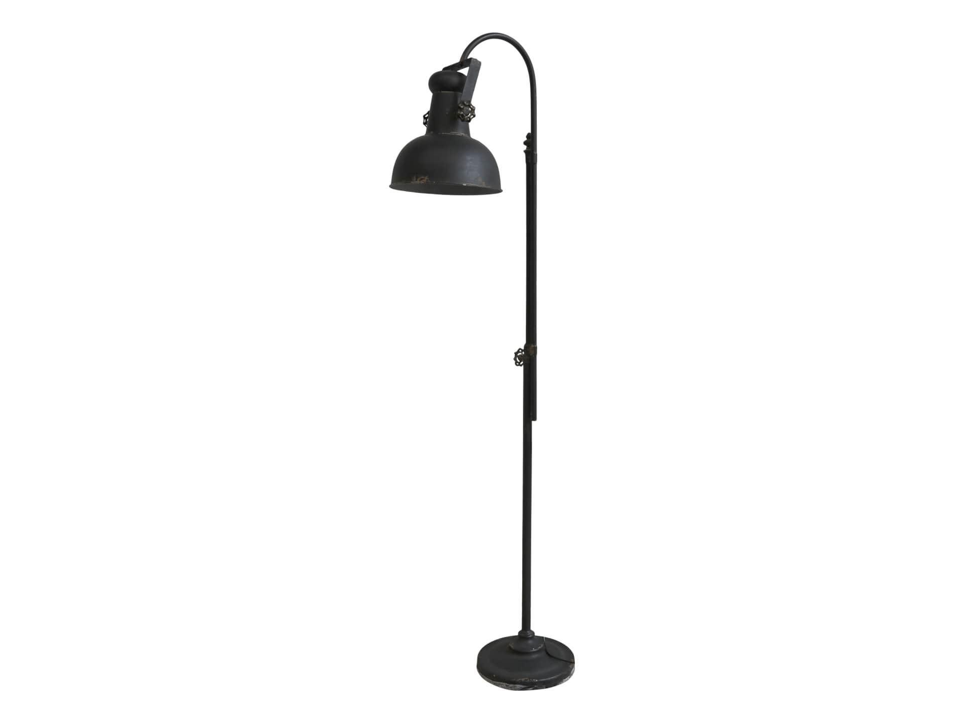 Chic Antique Stojací lampa Factory Antique Black 1,75m, černá barva, kov
