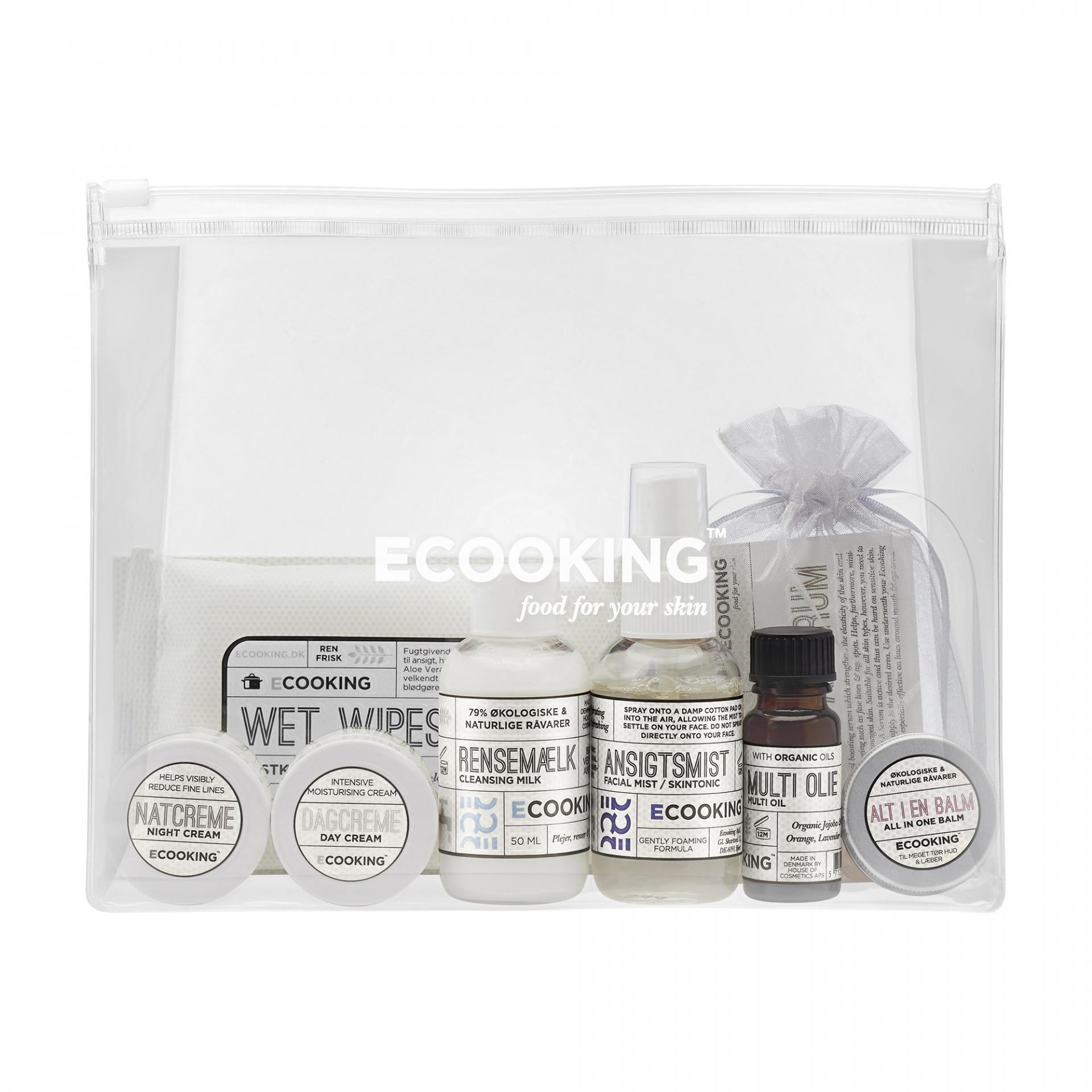 ECOOKING Cestovní sada kosmetiky s čisticím mlékem, bílá barva, kov, plast