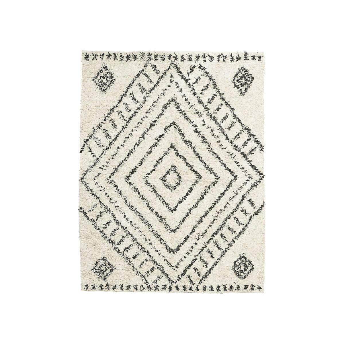 House Doctor Koberec Nubia 210x160, černá barva, bílá barva, textil