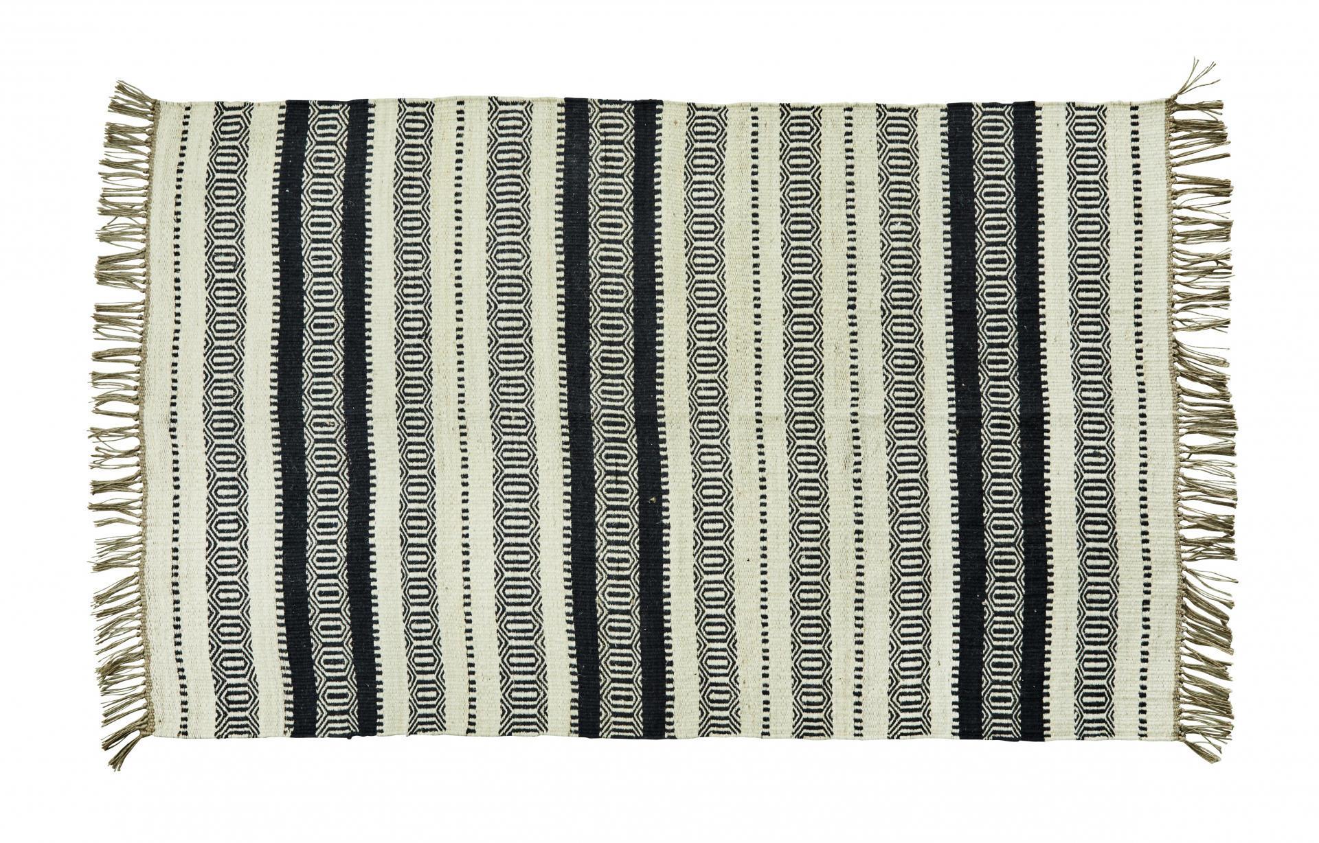 MADAM STOLTZ Jutový koberec Off white 120x180, béžová barva, černá barva, krémová barva, tex