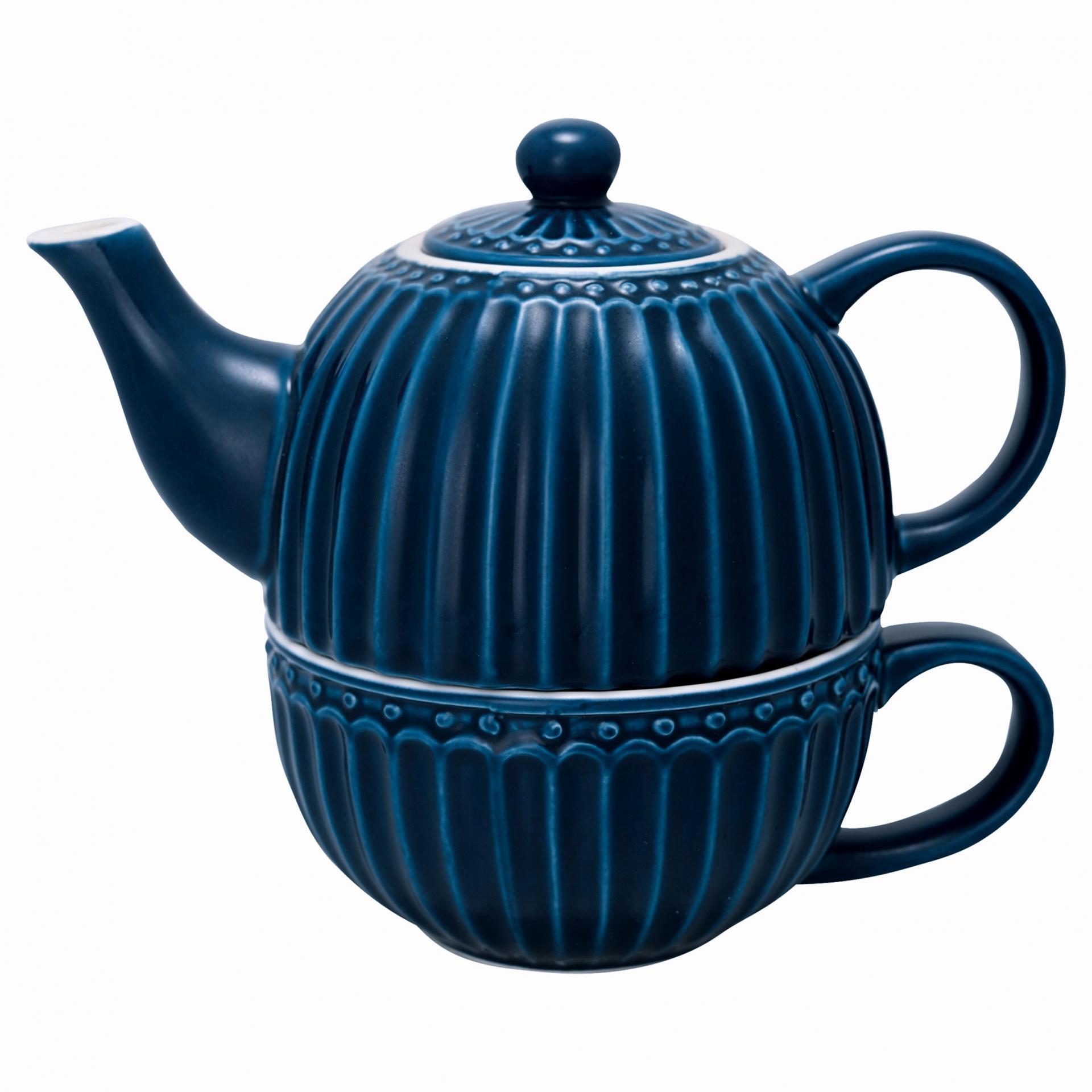GREEN GATE Čajová konvička s hrnečkem Alice Dark Blue, modrá barva, porcelán