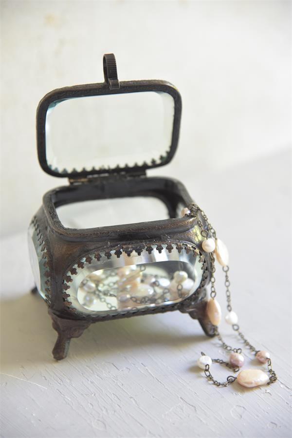 Jeanne d'Arc Living Šperkovnice Antique Look, hnědá barva, čirá barva, sklo, kov