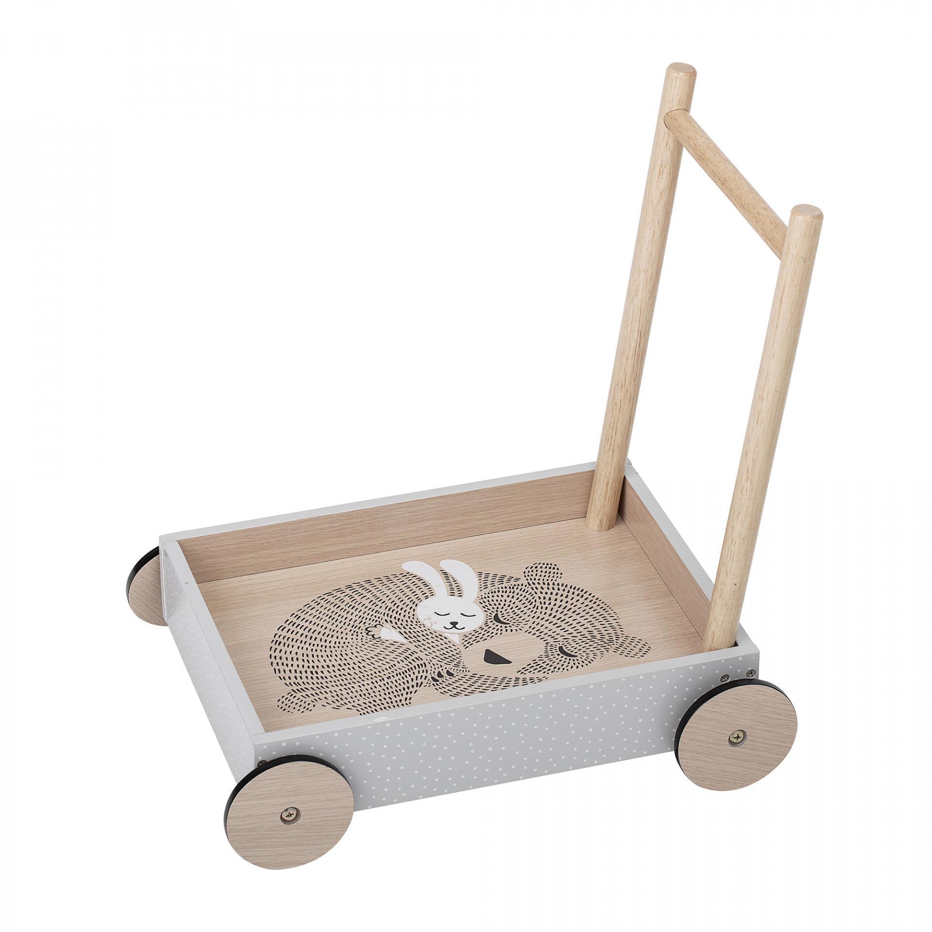 Bloomingville Dětský vozík Sleeping Friends, šedá barva, černá barva, bílá barva, přírodní barva, dřevo