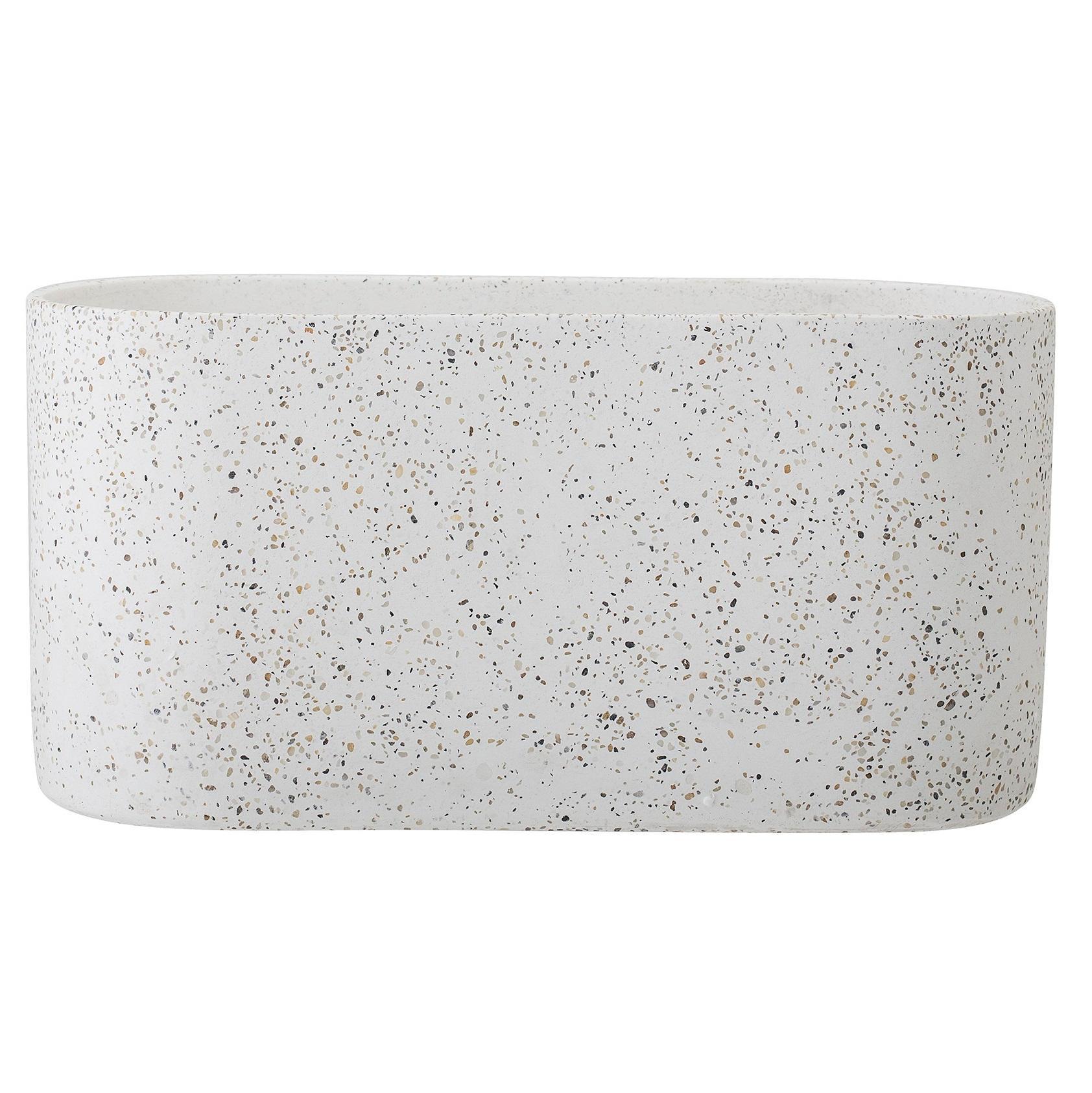 Bloomingville Betonový květináč Terrazzo, béžová barva, bílá barva, multi barva, beton