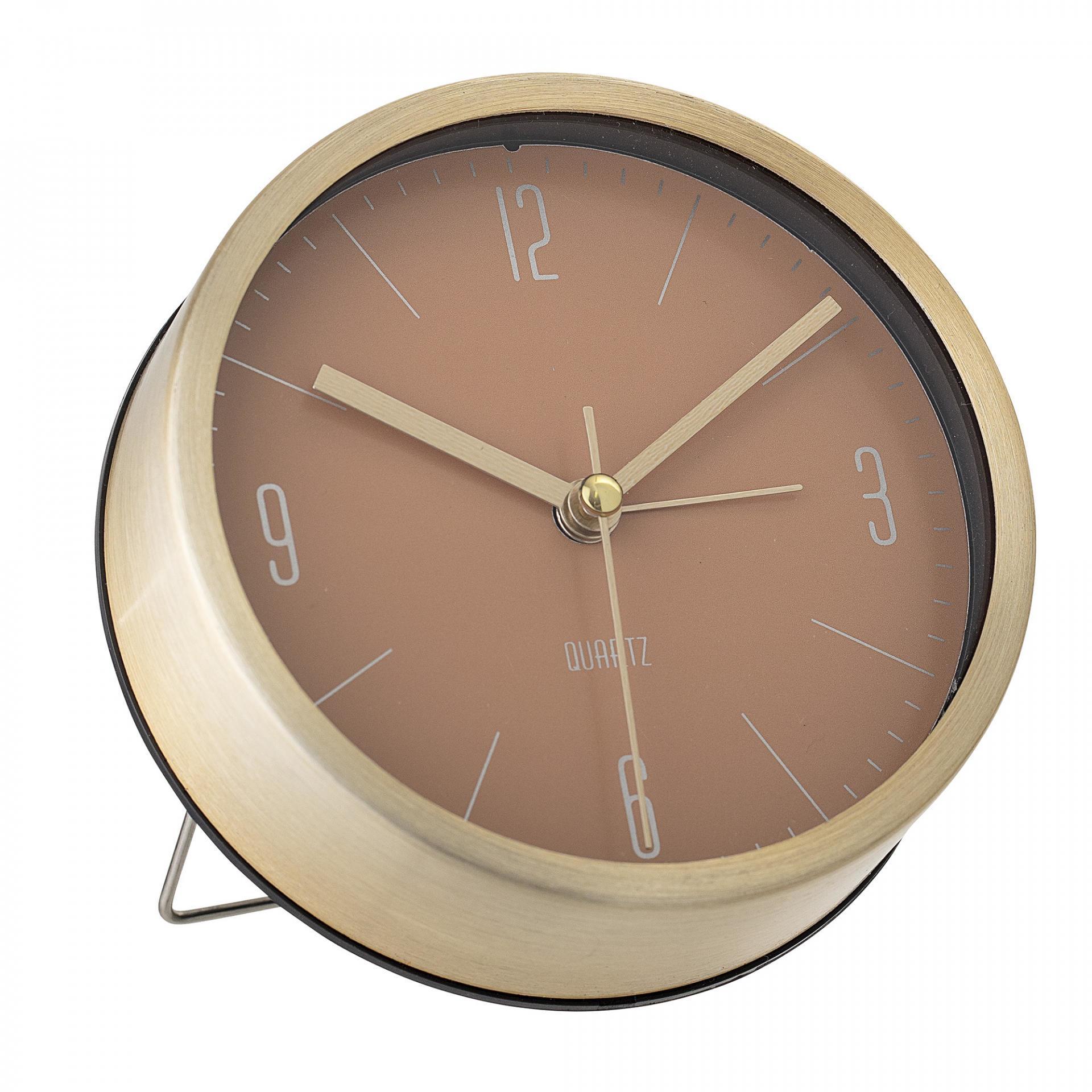 Bloomingville Stolní hodiny Gold&Nude Aluminium, zlatá barva, sklo, kov