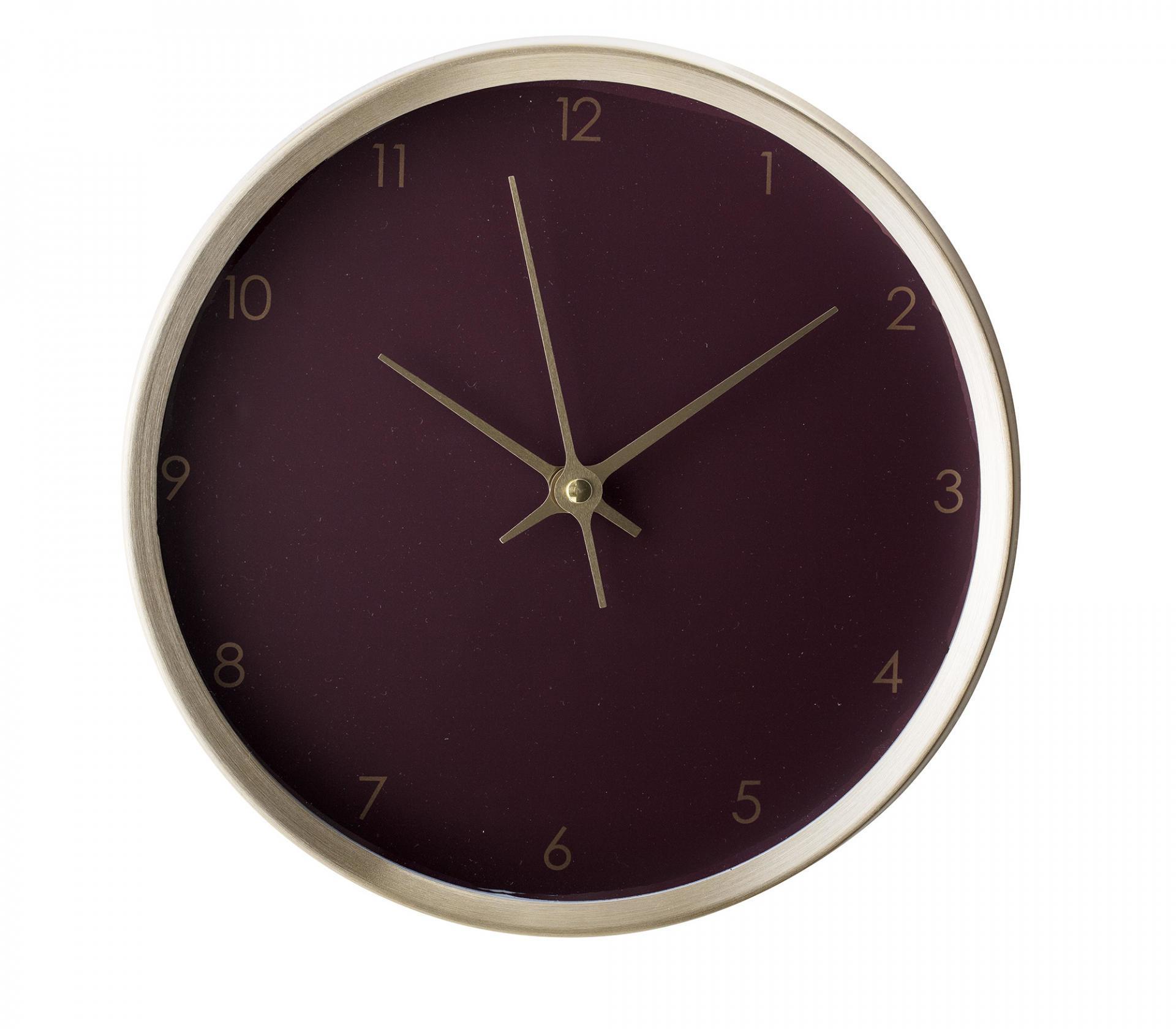 Bloomingville Nástěnné hodiny Aluminium Purple, červená barva, zlatá barva, sklo, kov