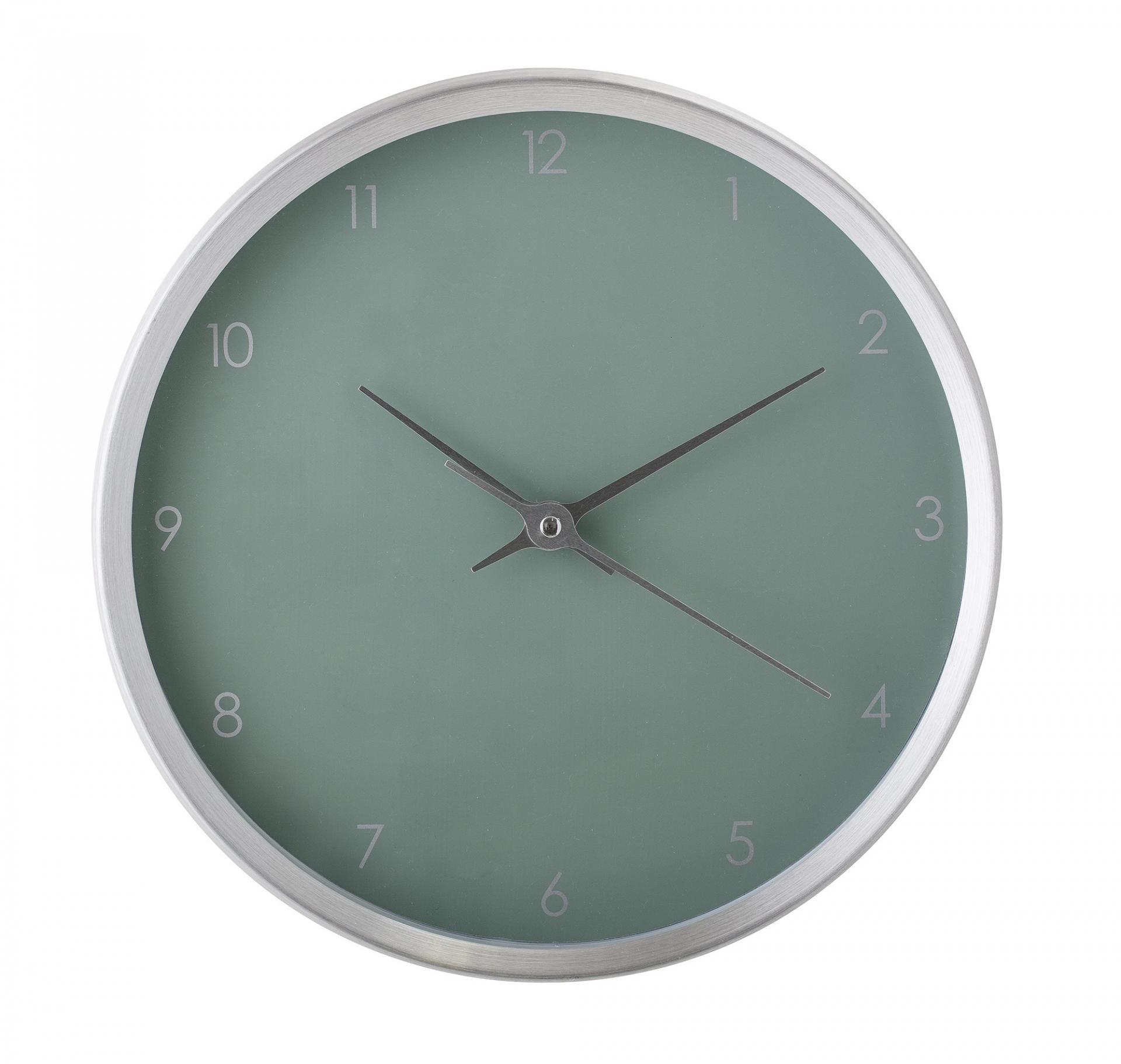 Bloomingville Nástěnné hodiny Aluminium Green, zelená barva, šedá barva, stříbrná barva, sk