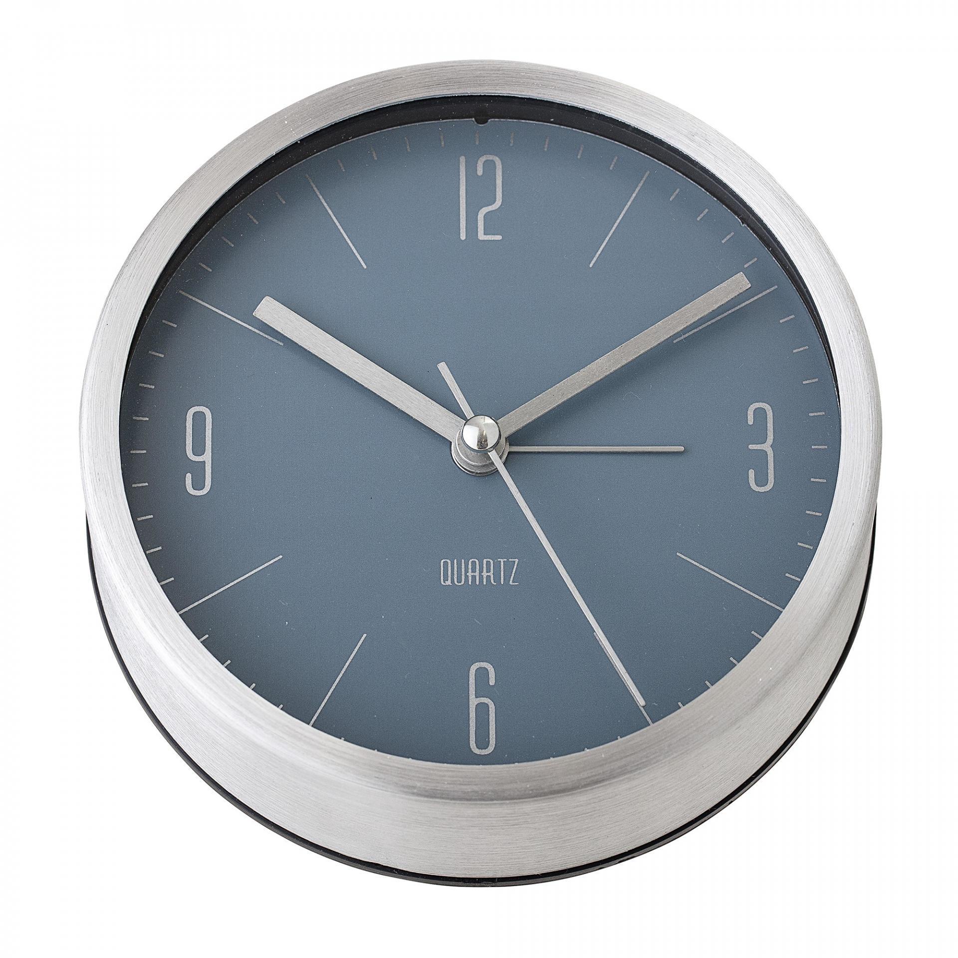 Bloomingville Stolní hodiny Silver Aluminium, šedá barva, stříbrná barva, sklo, kov