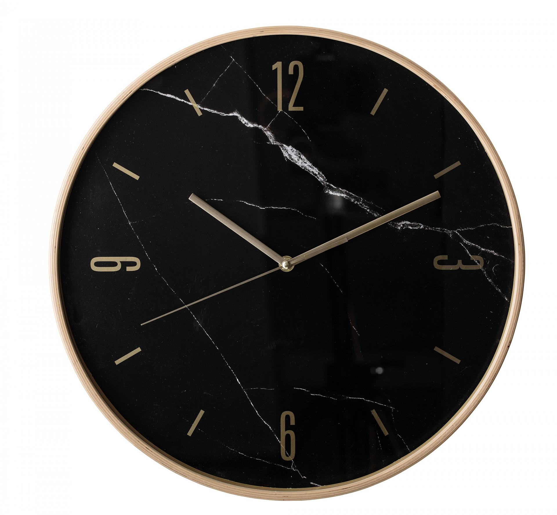 Bloomingville Nástěnné hodiny Light Beech, černá barva, zlatá barva, přírodní barva, sklo,
