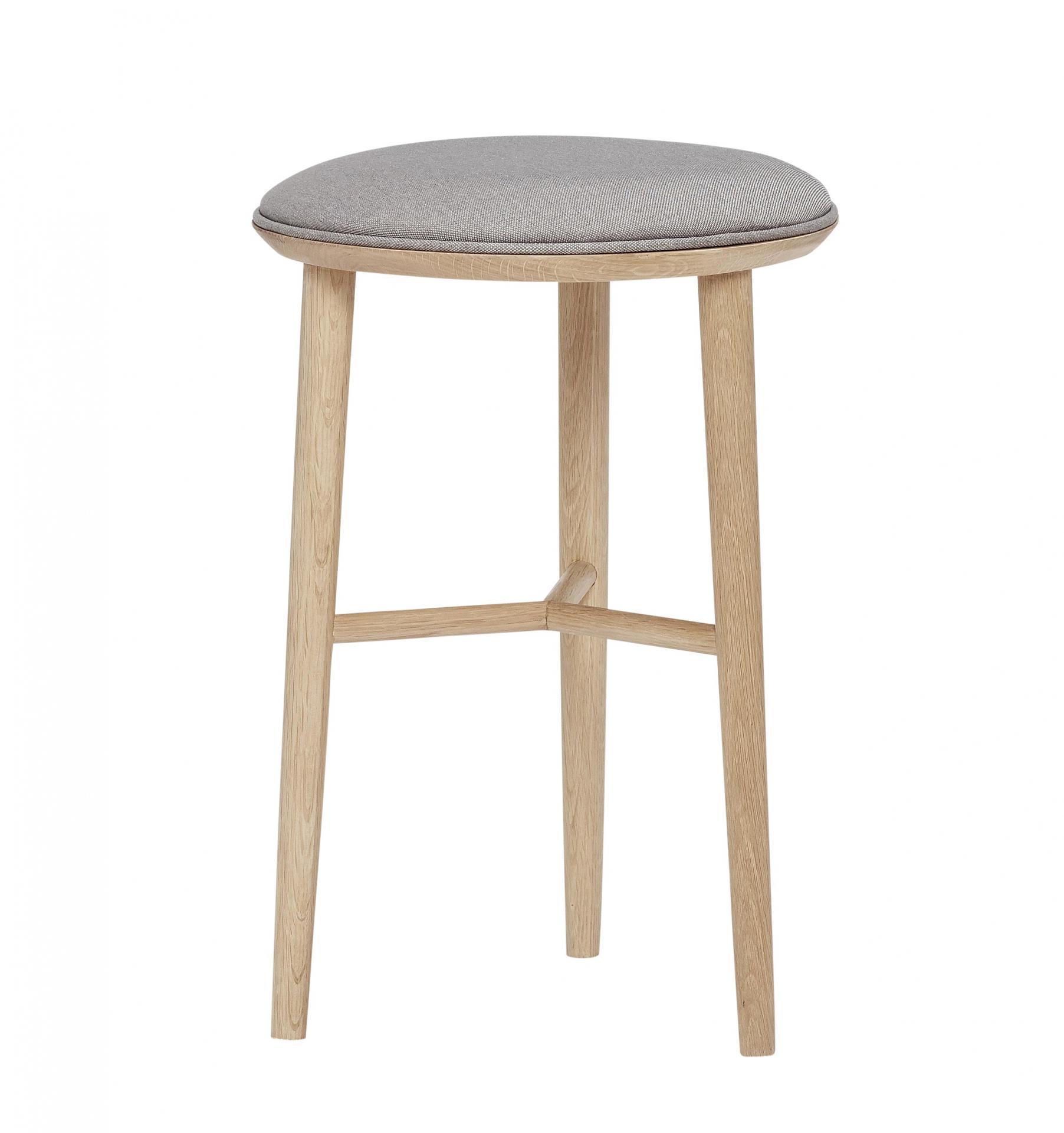 Hübsch Barová stolička Wood Nature, šedá barva, hnědá barva, dřevo, textil