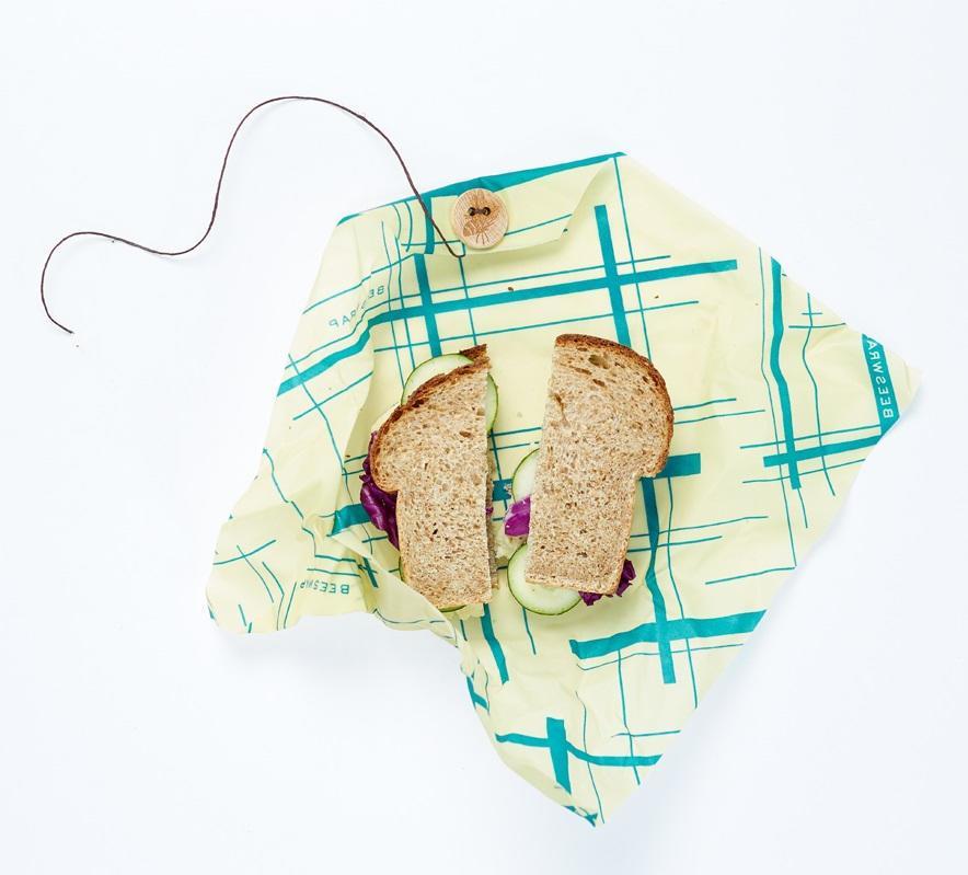 Bee's Wrap Ekologický potravinový ubrousek Sandwich Green, zelená barva, žlutá barva, textil