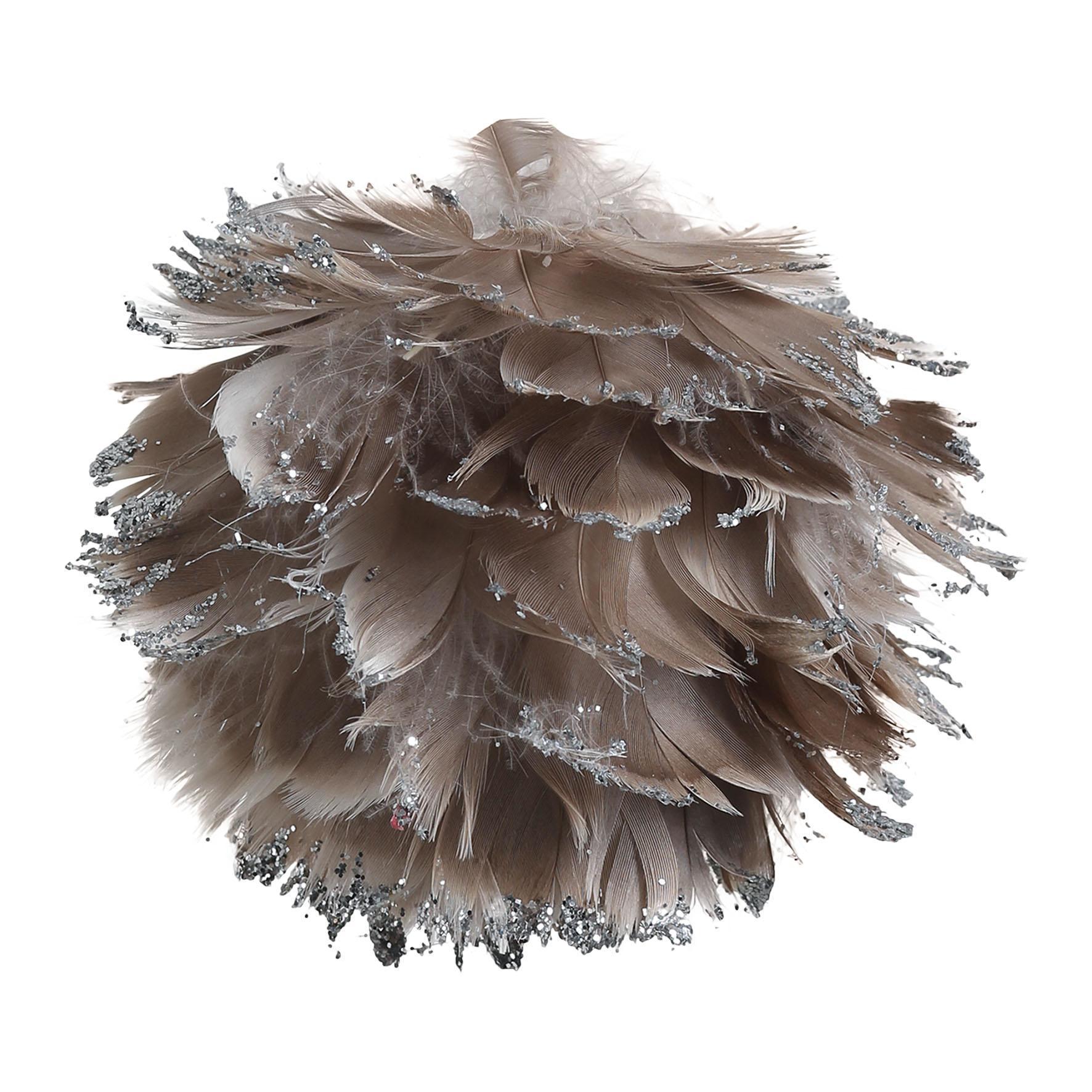 CÔTÉ TABLE Závěsná dekorace Plume gris - menší, šedá barva, hnědá barva, stříbrná barva