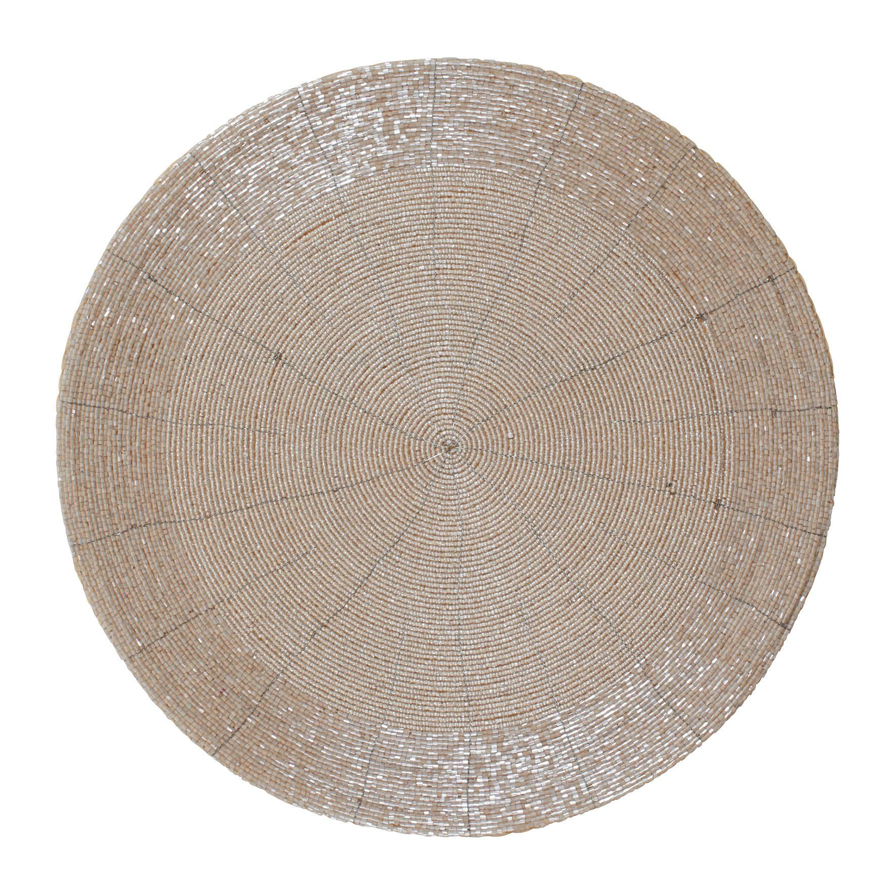 CÔTÉ TABLE Prostírání - Perles d'Argent, žlutá barva, stříbrná barva, sklo, plast, textil