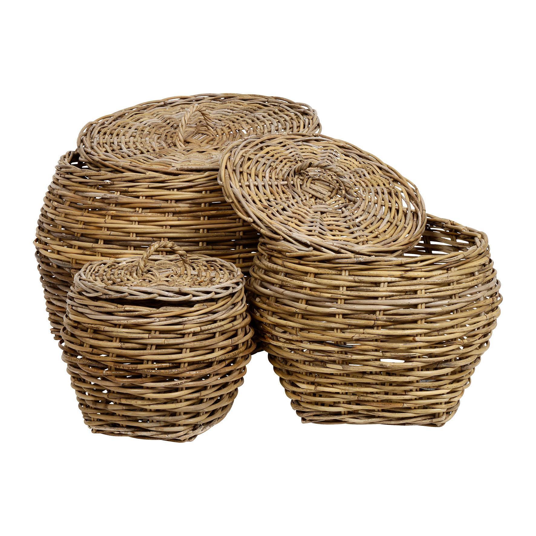 CÔTÉ TABLE Proutěný koš - Panier Grisé Velikost M, přírodní barva, dřevo