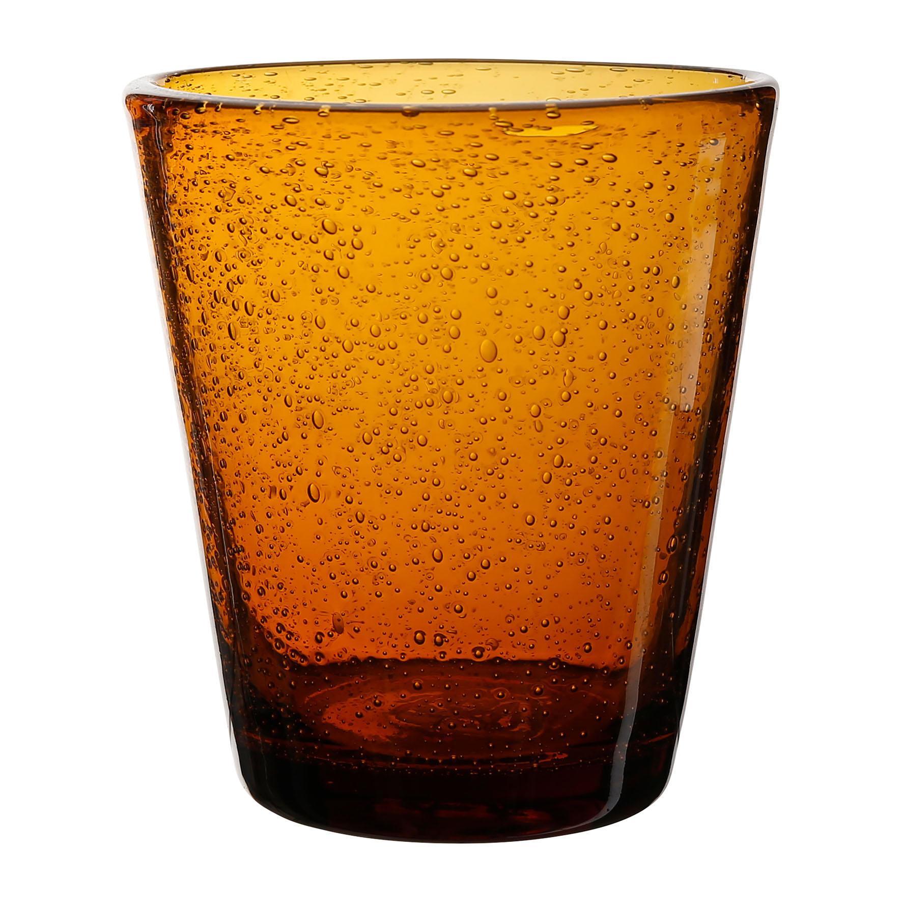 CÔTÉ TABLE Sklenice - Pernille Ambre, oranžová barva, hnědá barva, čirá barva, sklo