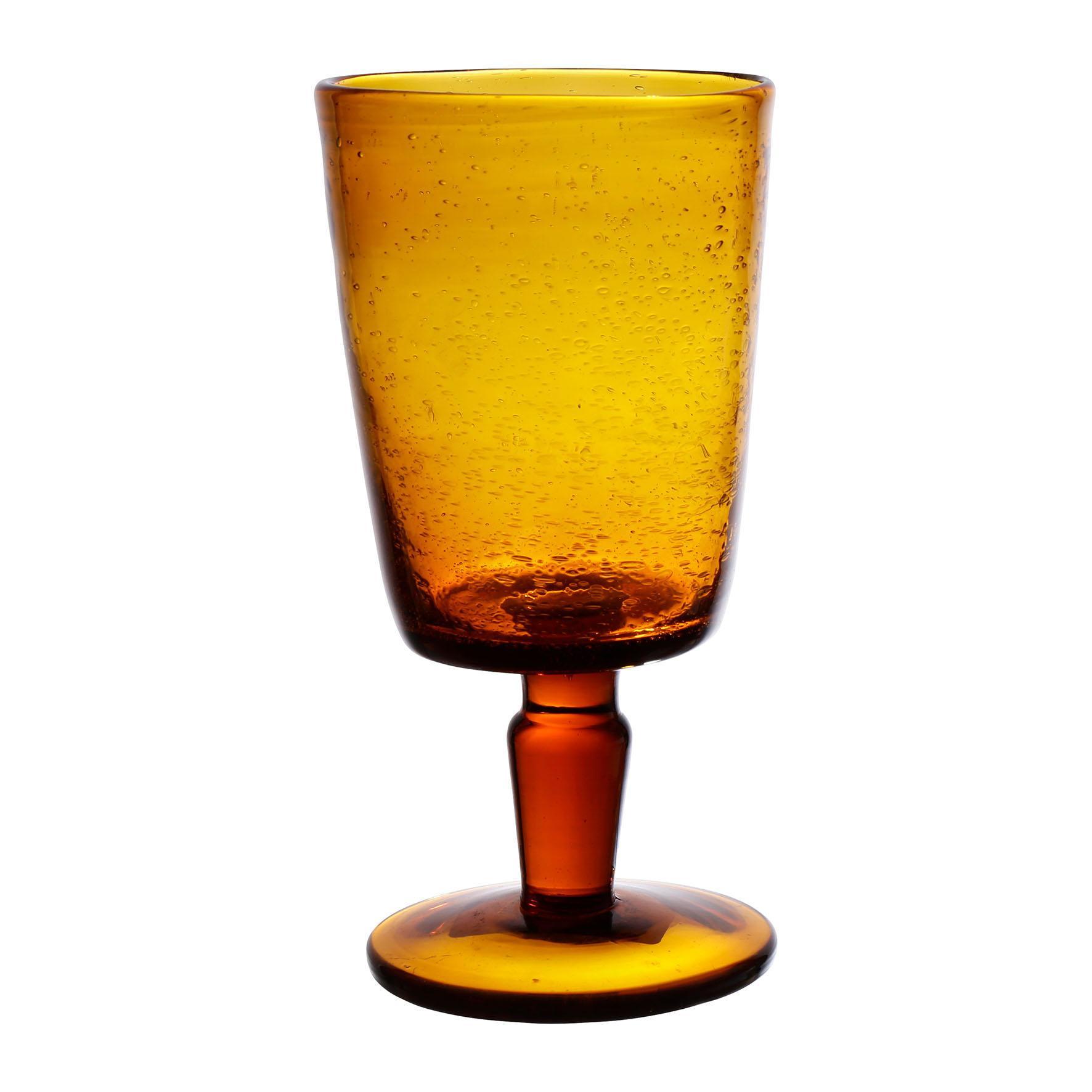 CÔTÉ TABLE Sklenice na víno - Pernille Ambre, oranžová barva, hnědá barva, čirá barva, sklo