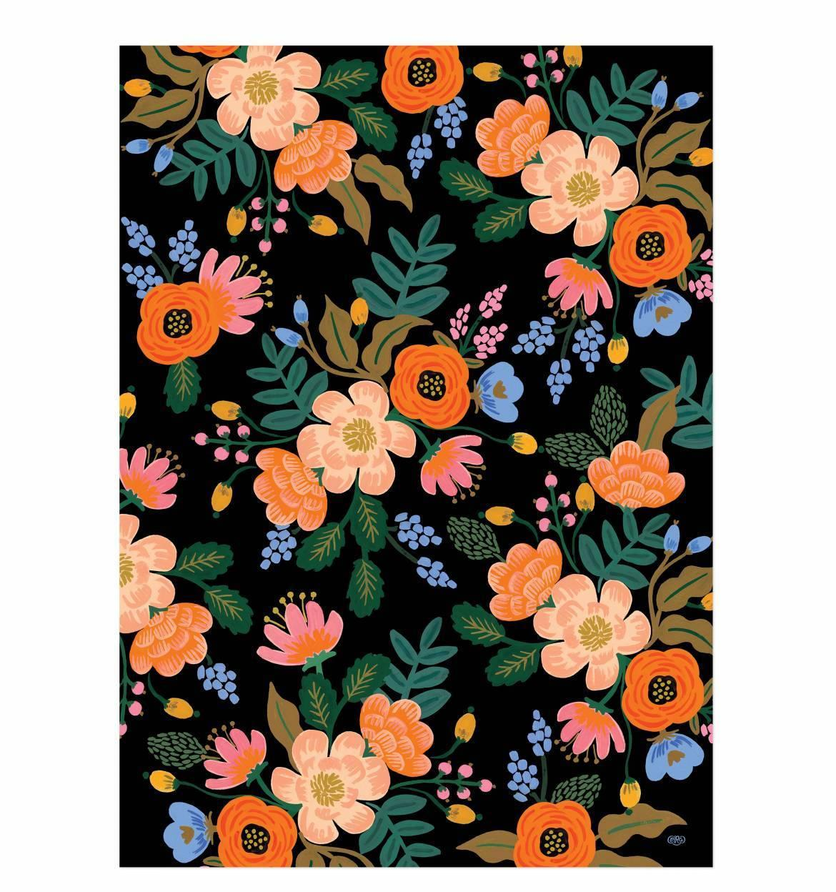 Rifle Paper Co. Balicí papír s květinami Bordeaux - 1 list, černá barva, multi barva, papír