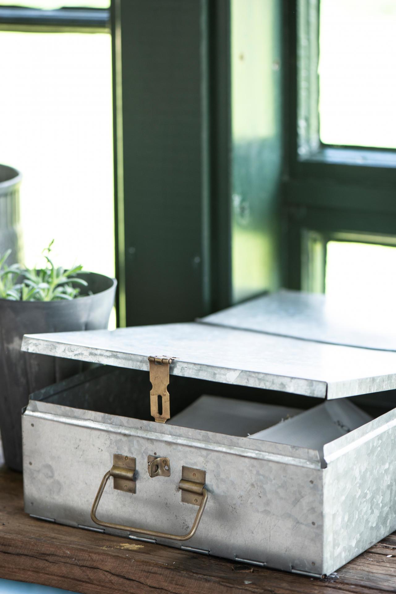 IB LAURSEN Velký úložný box Zinc, šedá barva, stříbrná barva, zinek