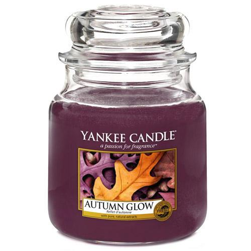 Yankee Candle Svíčka Yankee Candle 411gr - Autumn Glow, fialová barva, sklo, vosk