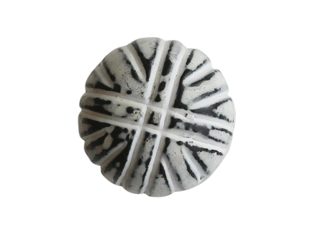 Chic Antique Kovová úchytka Iron Round, černá barva, bílá barva, kov