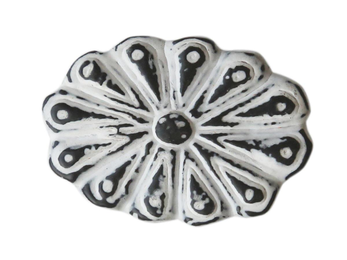 Chic Antique Kovová úchytka Iron, černá barva, bílá barva, kov