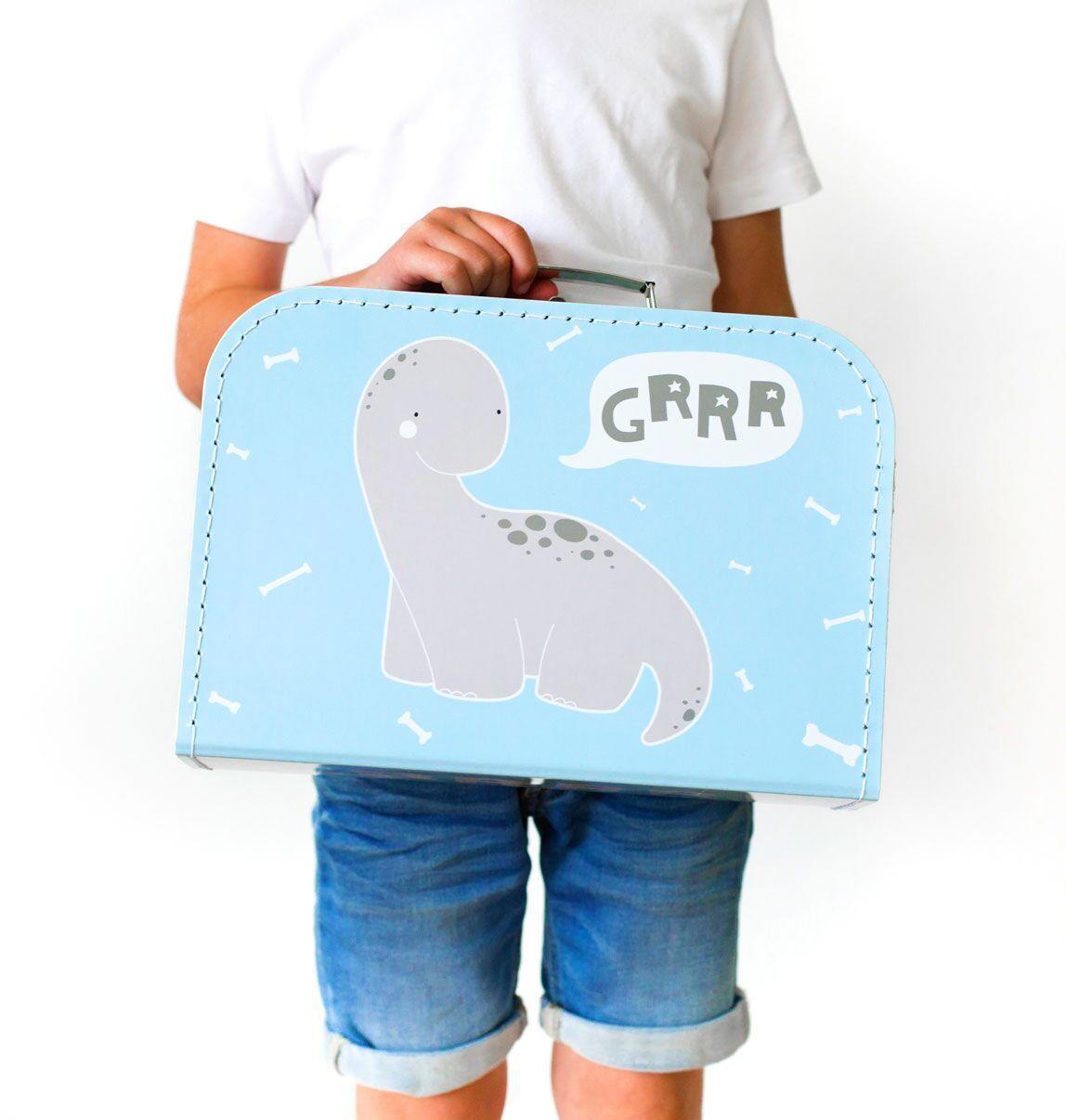 A Little Lovely Company Dětský kufřík - Baby Brontosaurus, modrá barva, šedá barva, bílá barva, kov, papír