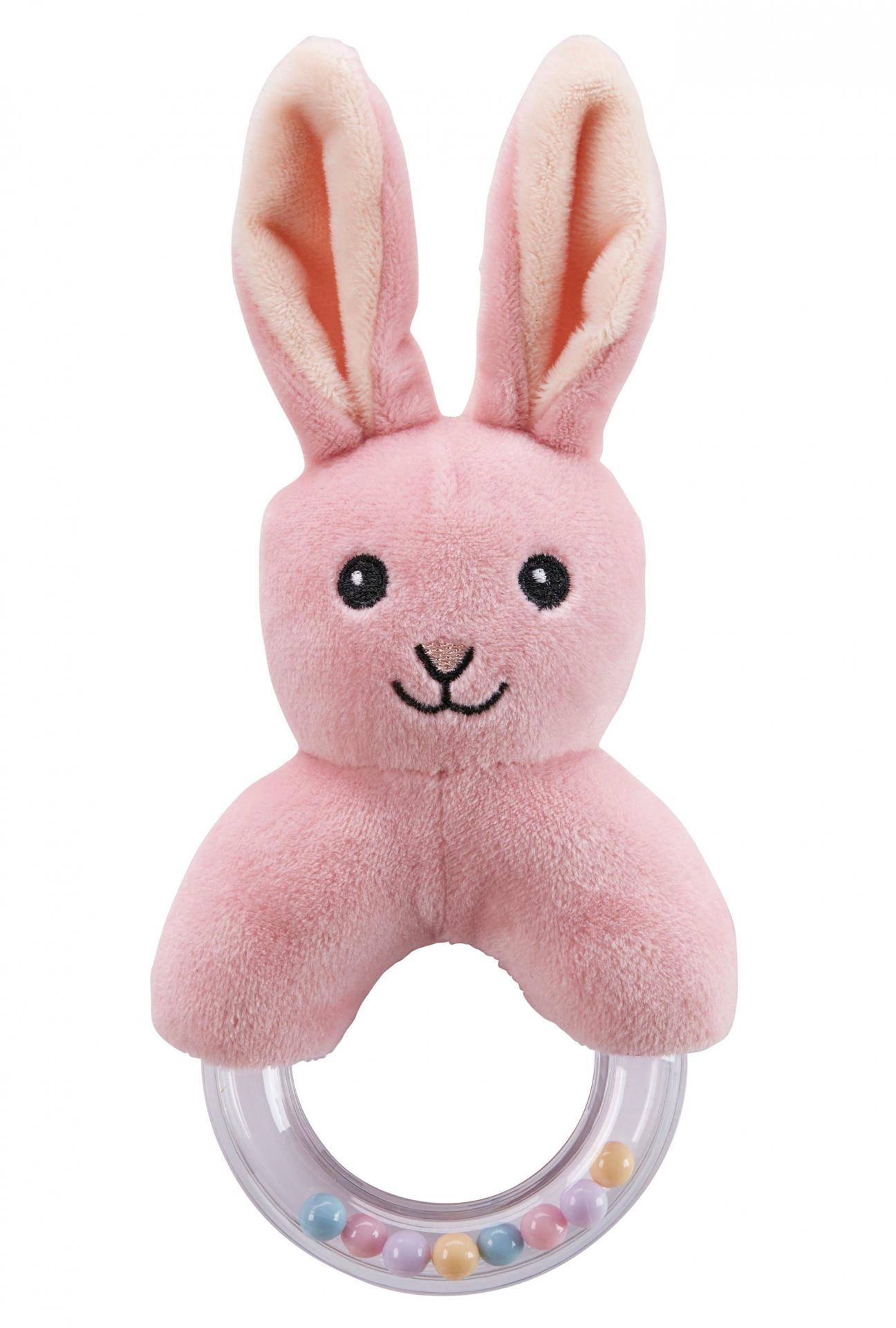 Kids Concept Dětské chrastítko s kousátkem Pink Rabbit, růžová barva, plast, textil