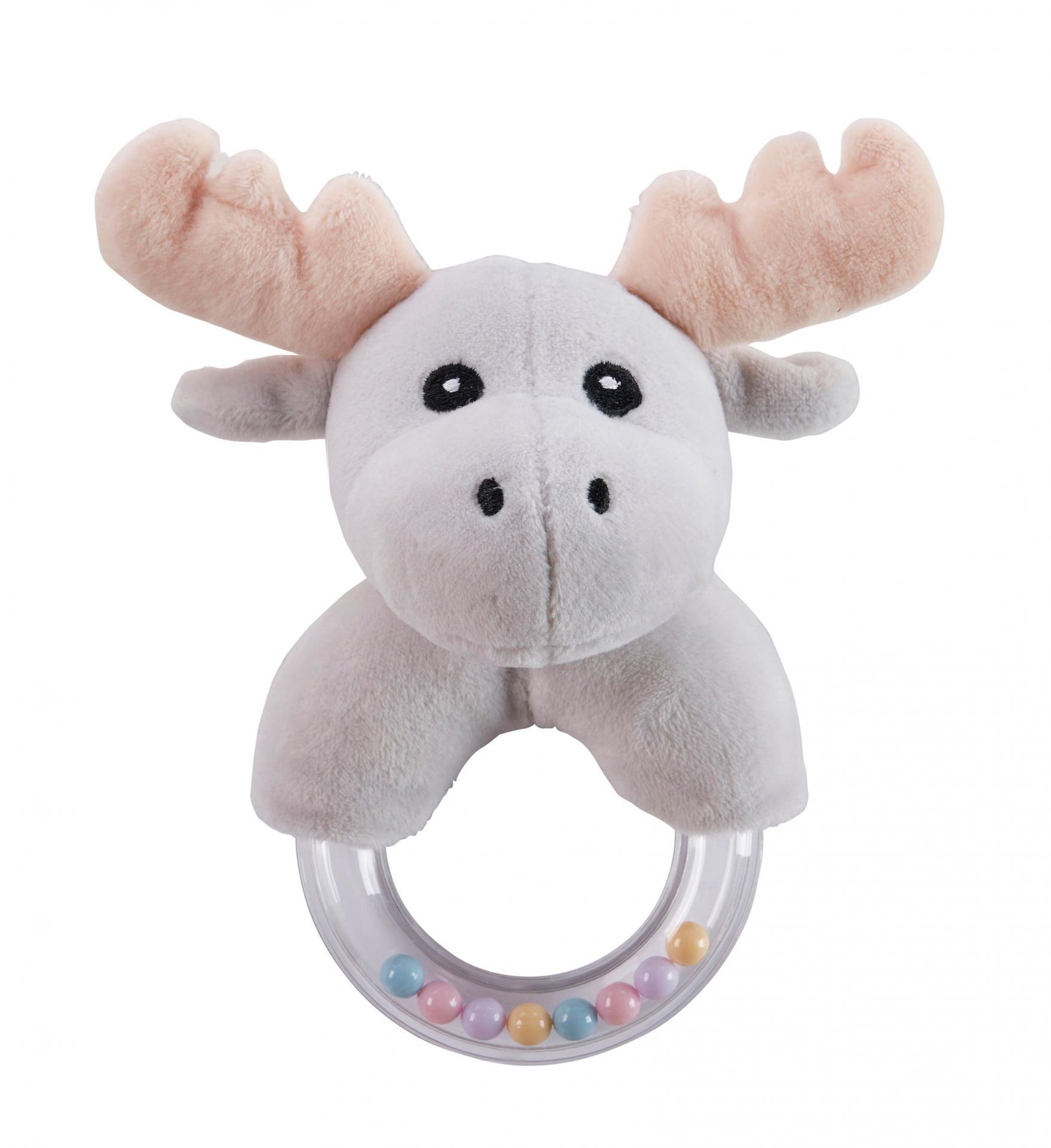Kids Concept Dětské chrastítko s kousátkem Little Moose, šedá barva, multi barva, plast, textil