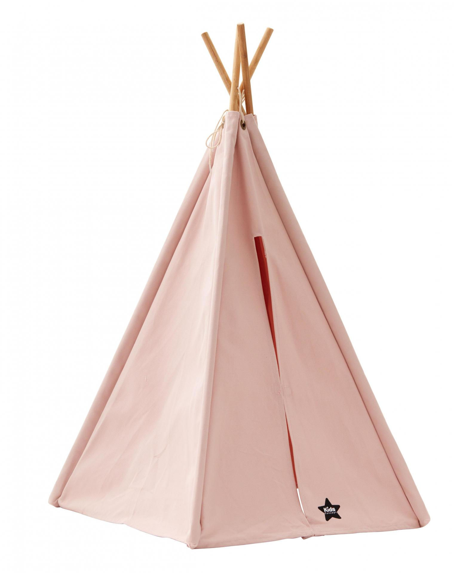 Kids Concept Dětský mini stan Teepee Pink, růžová barva, přírodní barva, dřevo, textil