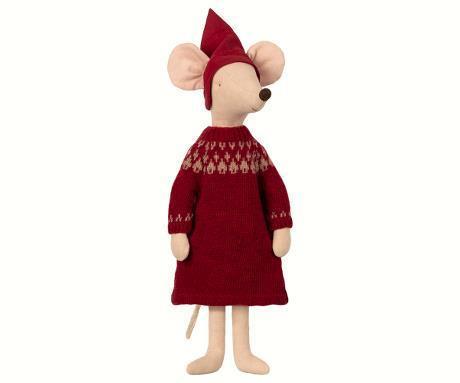 Maileg Vánoční myší slečna maxi Girl, červená barva, béžová barva, textil
